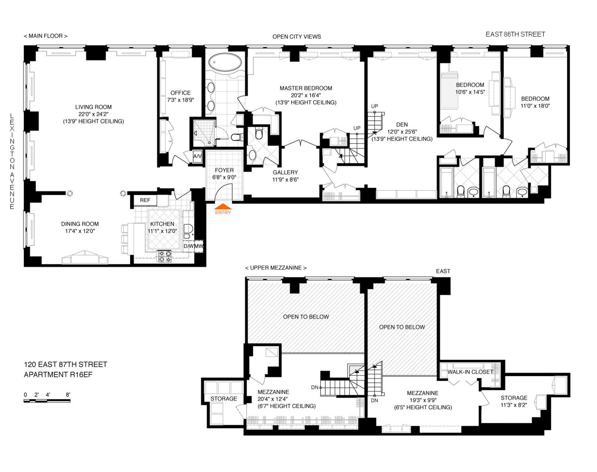 Floor plan of 120 East 87th St, R16EF - Carnegie Hill, New York