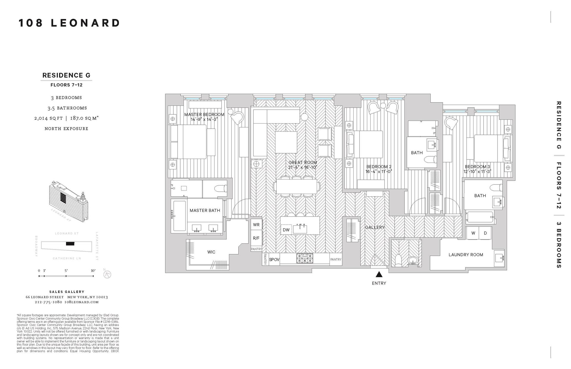Floor plan of 108 Leonard St, 7G - TriBeCa, New York
