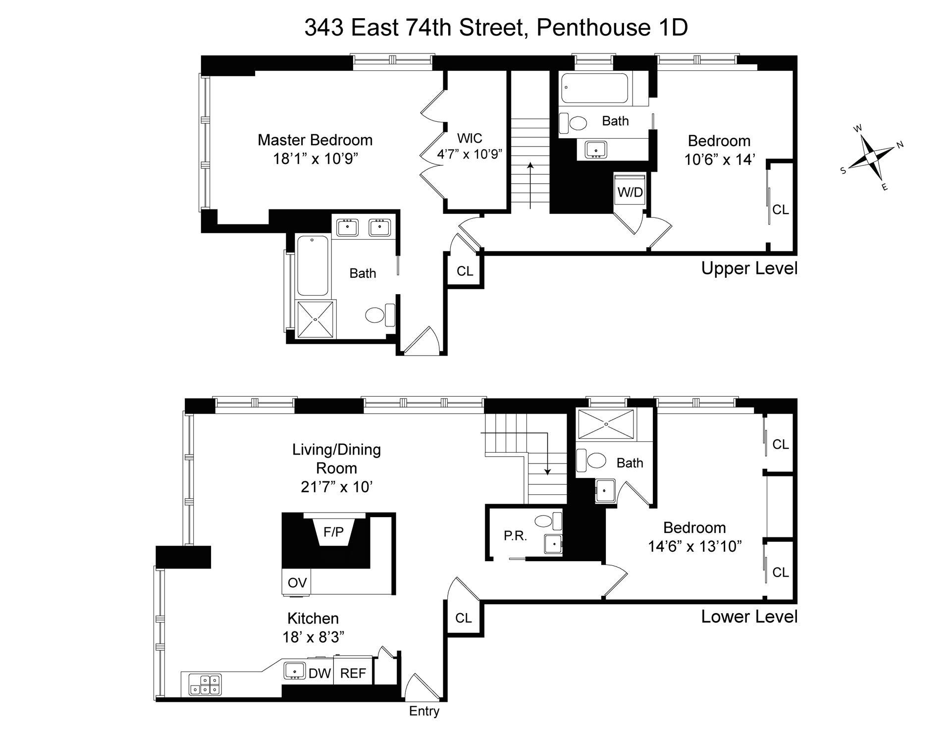 Floor plan of 343 East 74th St, PH1D - Upper East Side, New York