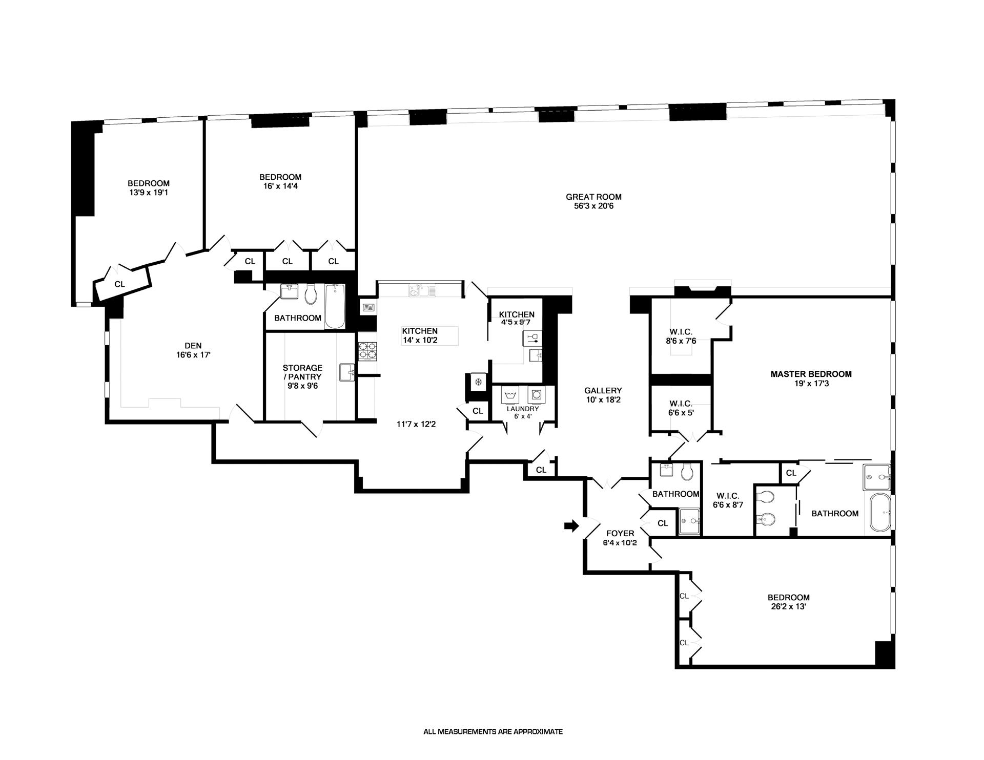 Floor plan of 10 Bleecker St, 4A - NoHo, New York