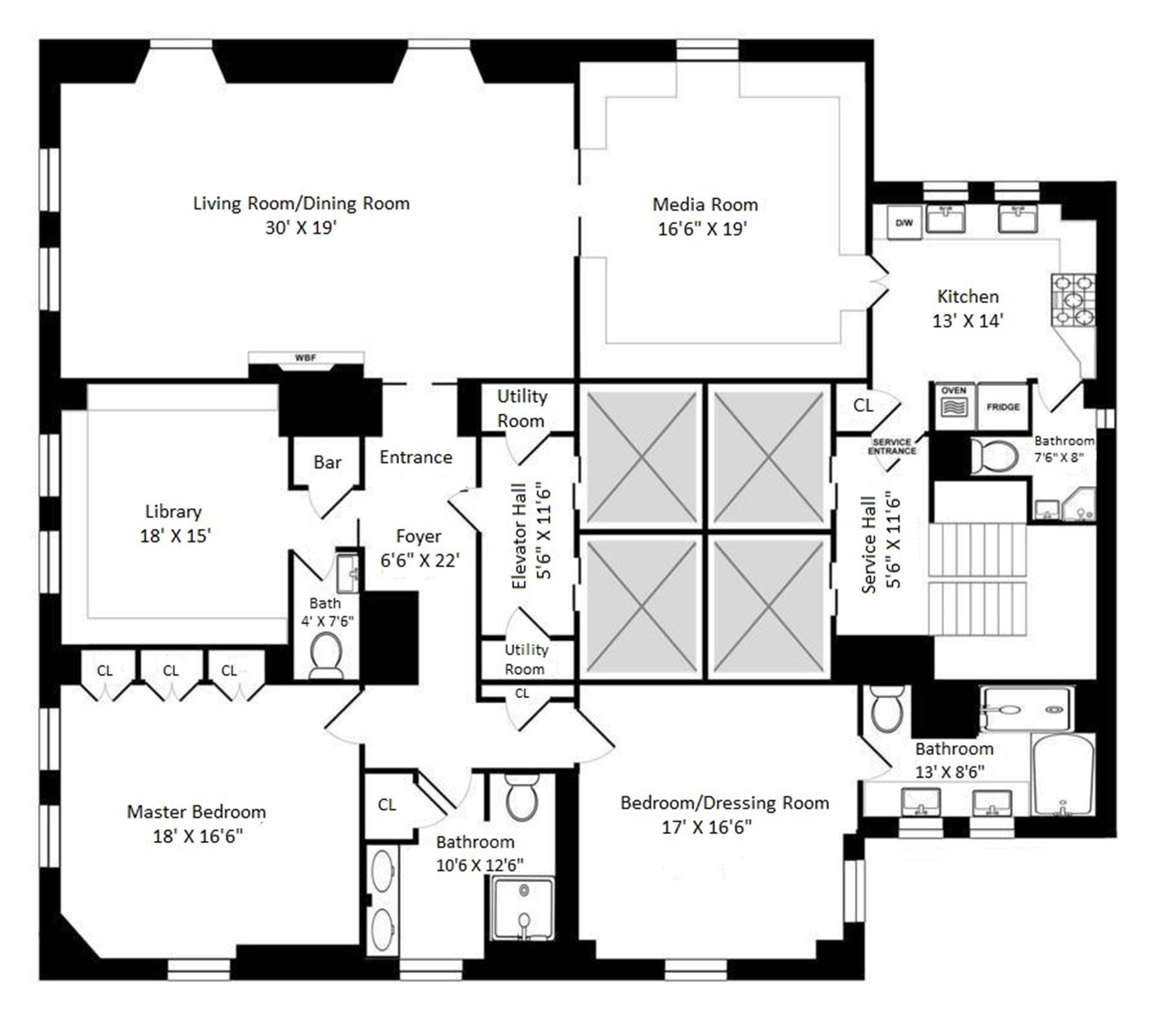 Floor plan of SHERRY NETHERLAND, 781 Fifth Avenue, 30T - Upper East Side, New York