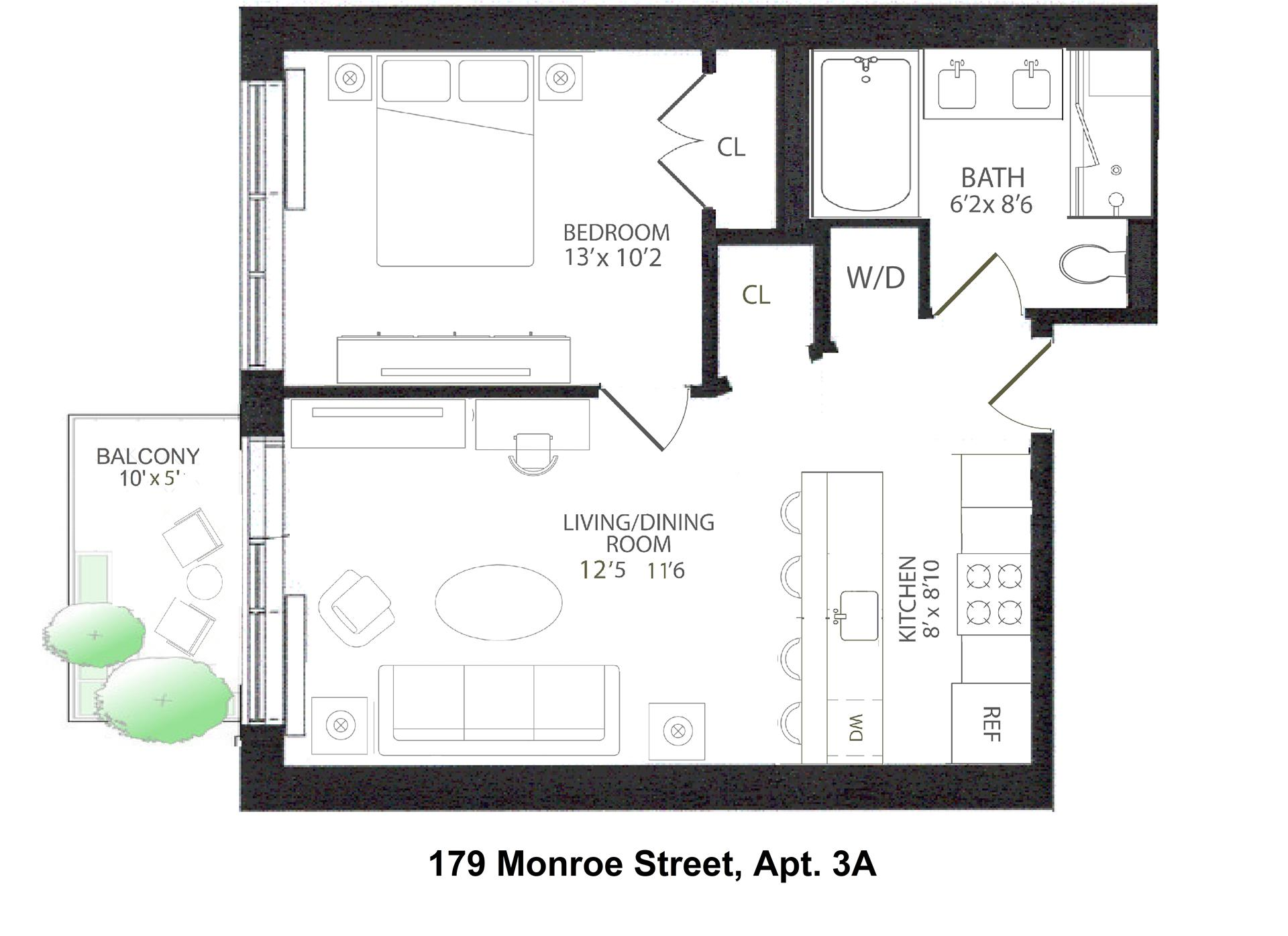 Floor plan of 179 Monroe St, 3A - Bedford - Stuyvesant, New York