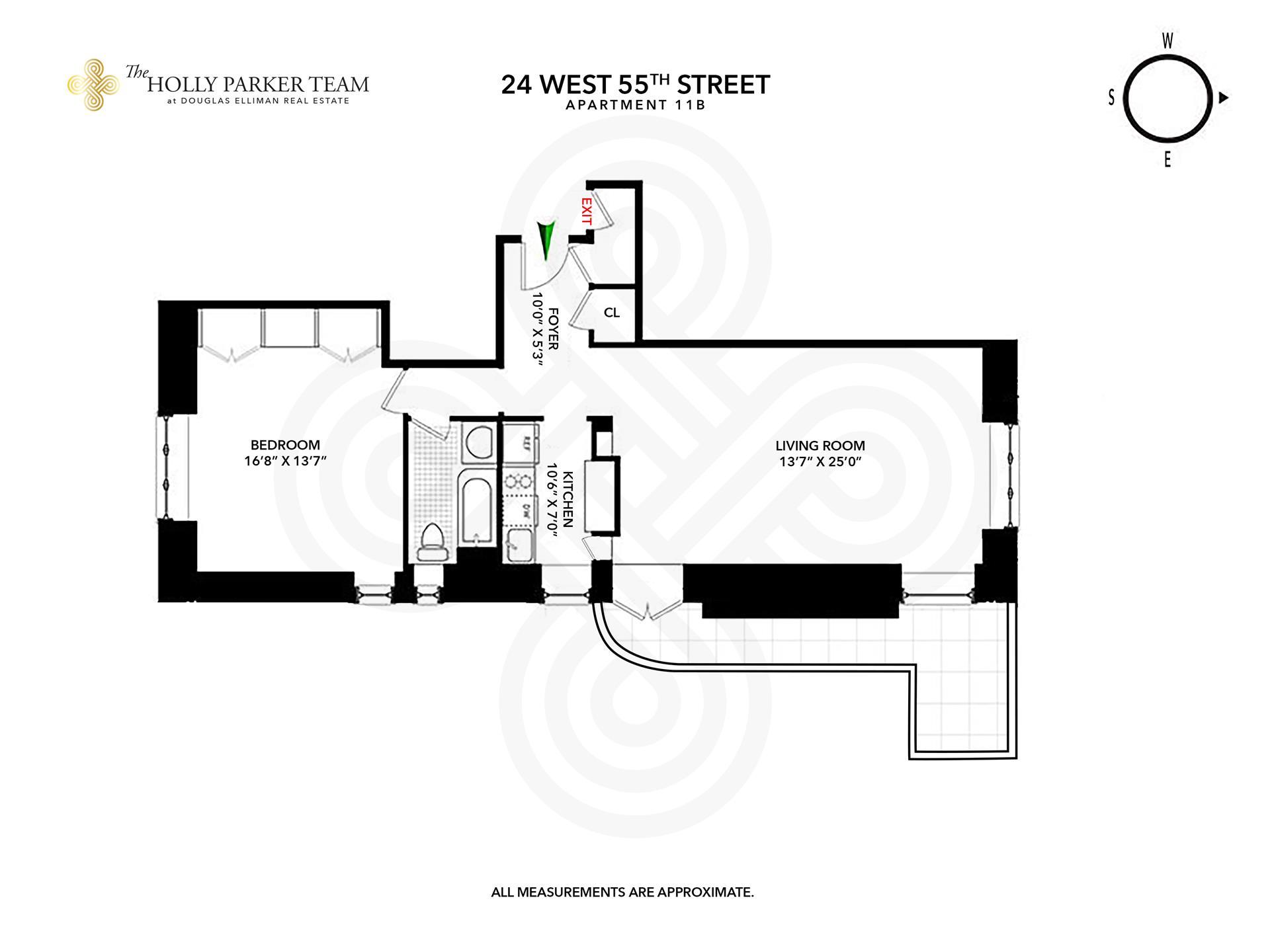 Floor plan of The Rockefeller Apartments, 24 West 55th St, 11B - Midtown, New York