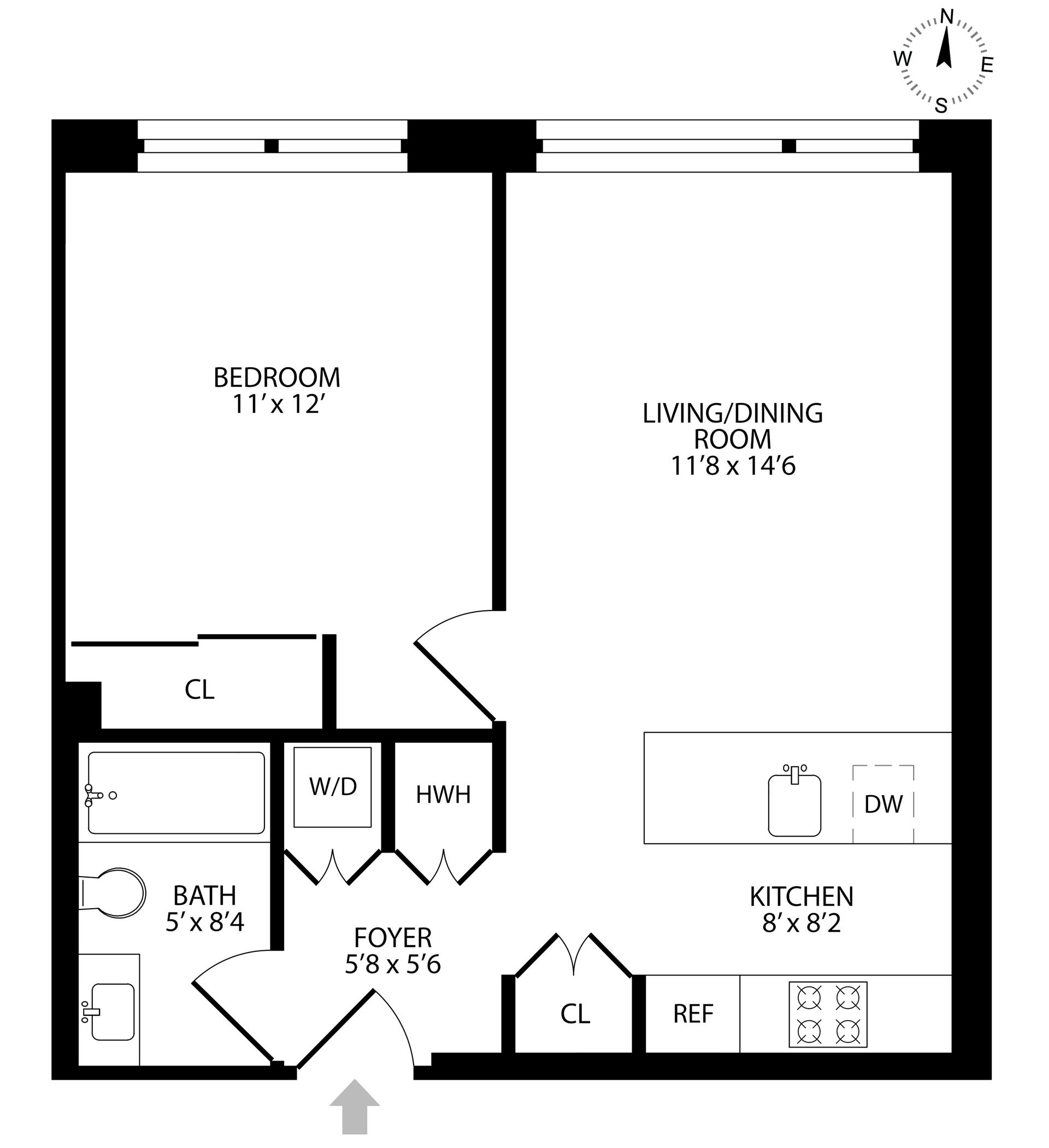 Floor plan of 204 Monroe St, 3A - Bedford - Stuyvesant, New York
