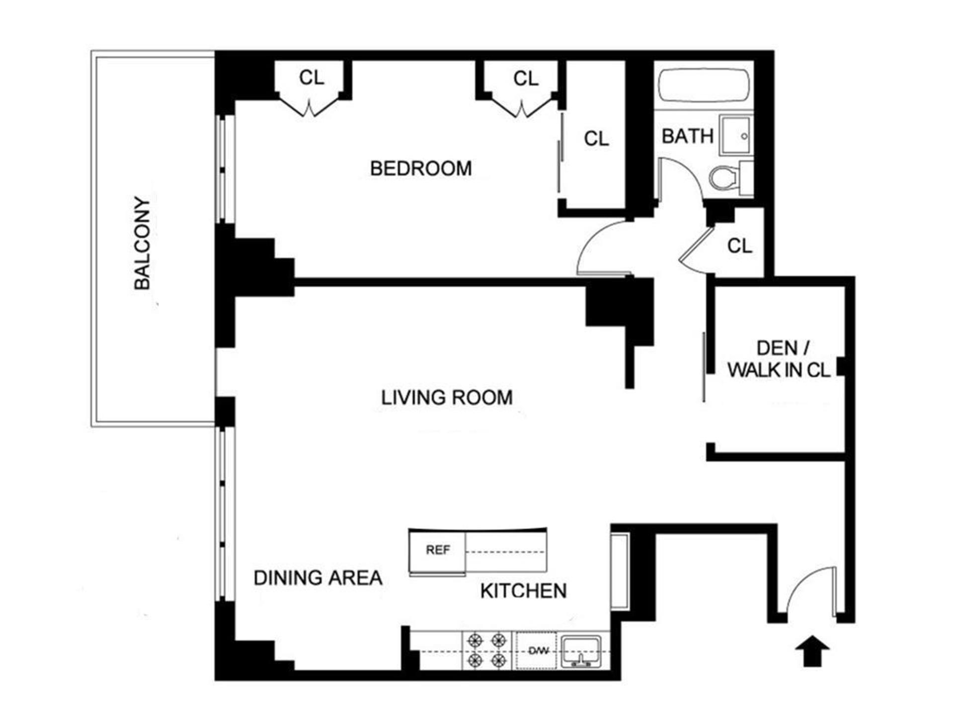 Floor plan of 382 Central Park West, 17J - Upper West Side, New York
