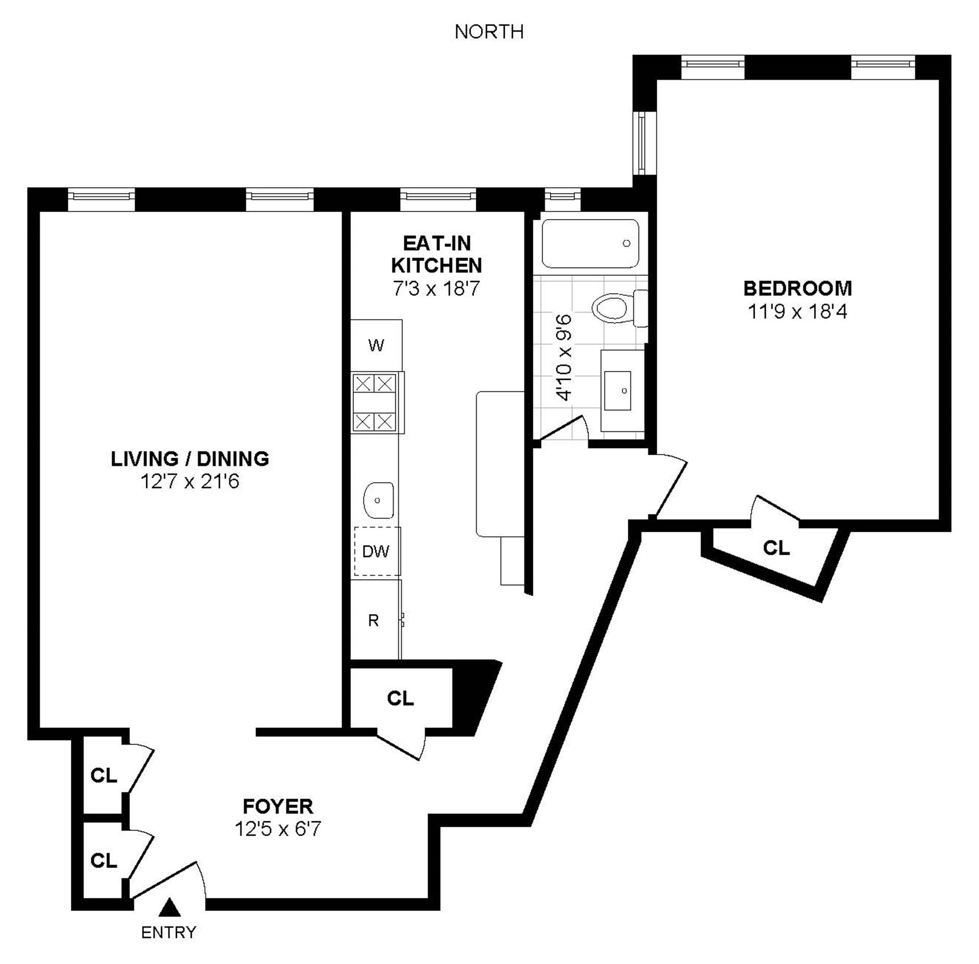 Floor plan of 81 Ocean Pkwy, 1M - Windsor Terrace, New York