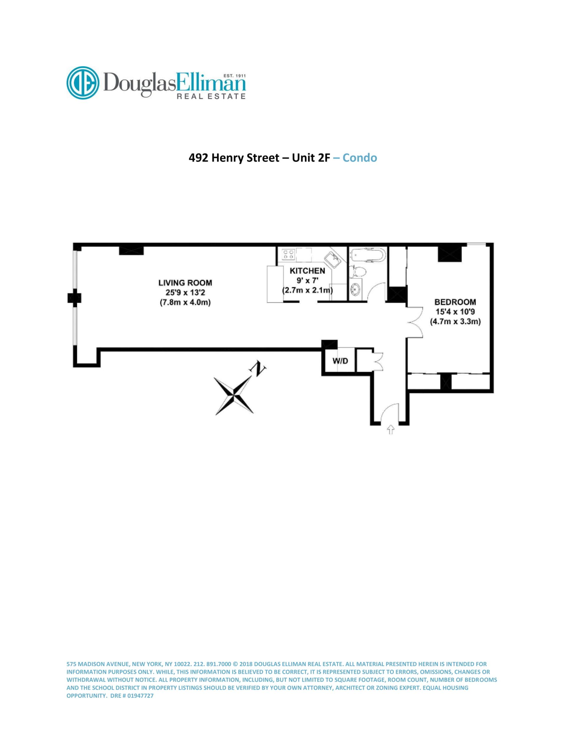 Floor plan of 492 Henry St, 2F - Cobble Hill, New York