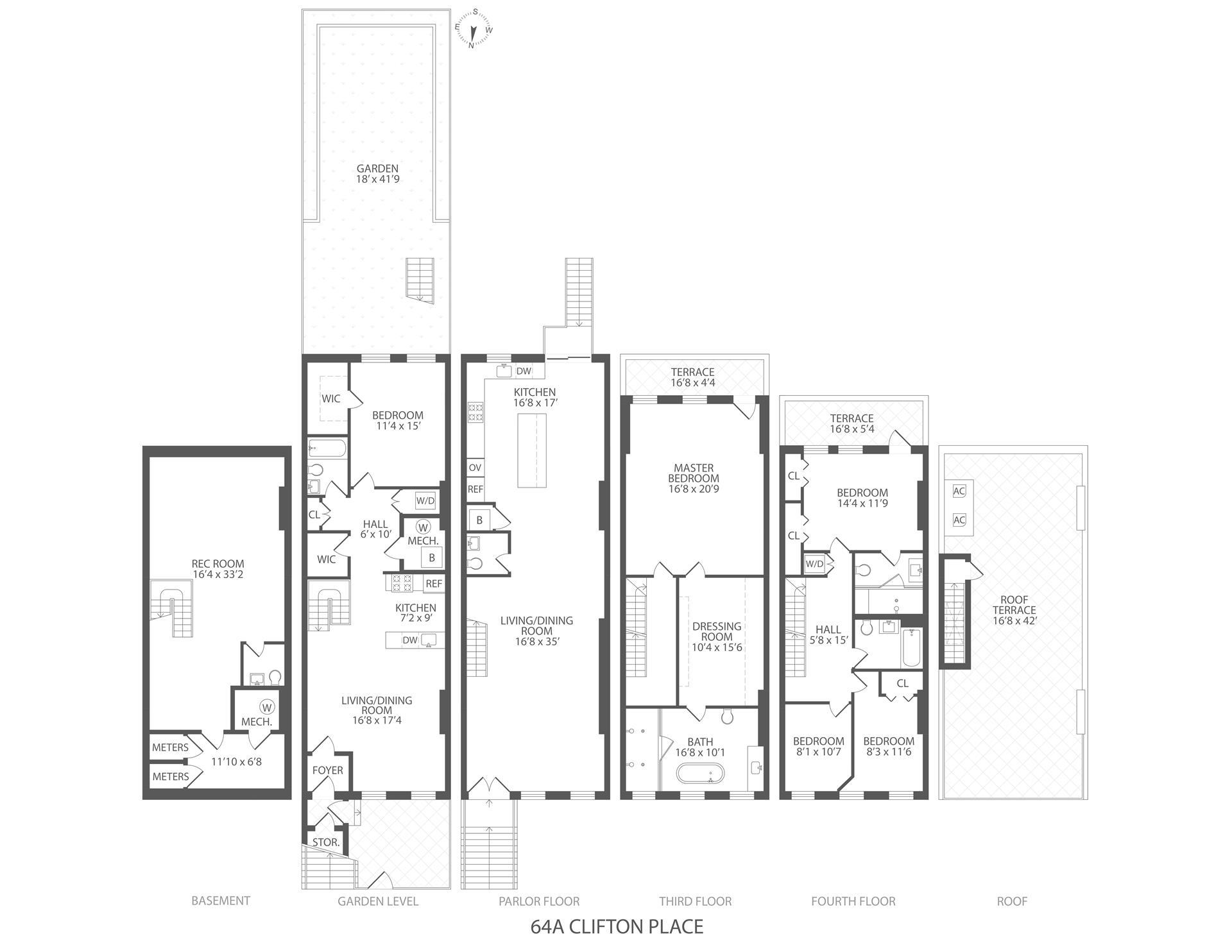 Floor plan of 64A Clifton Pl - Clinton Hill, New York