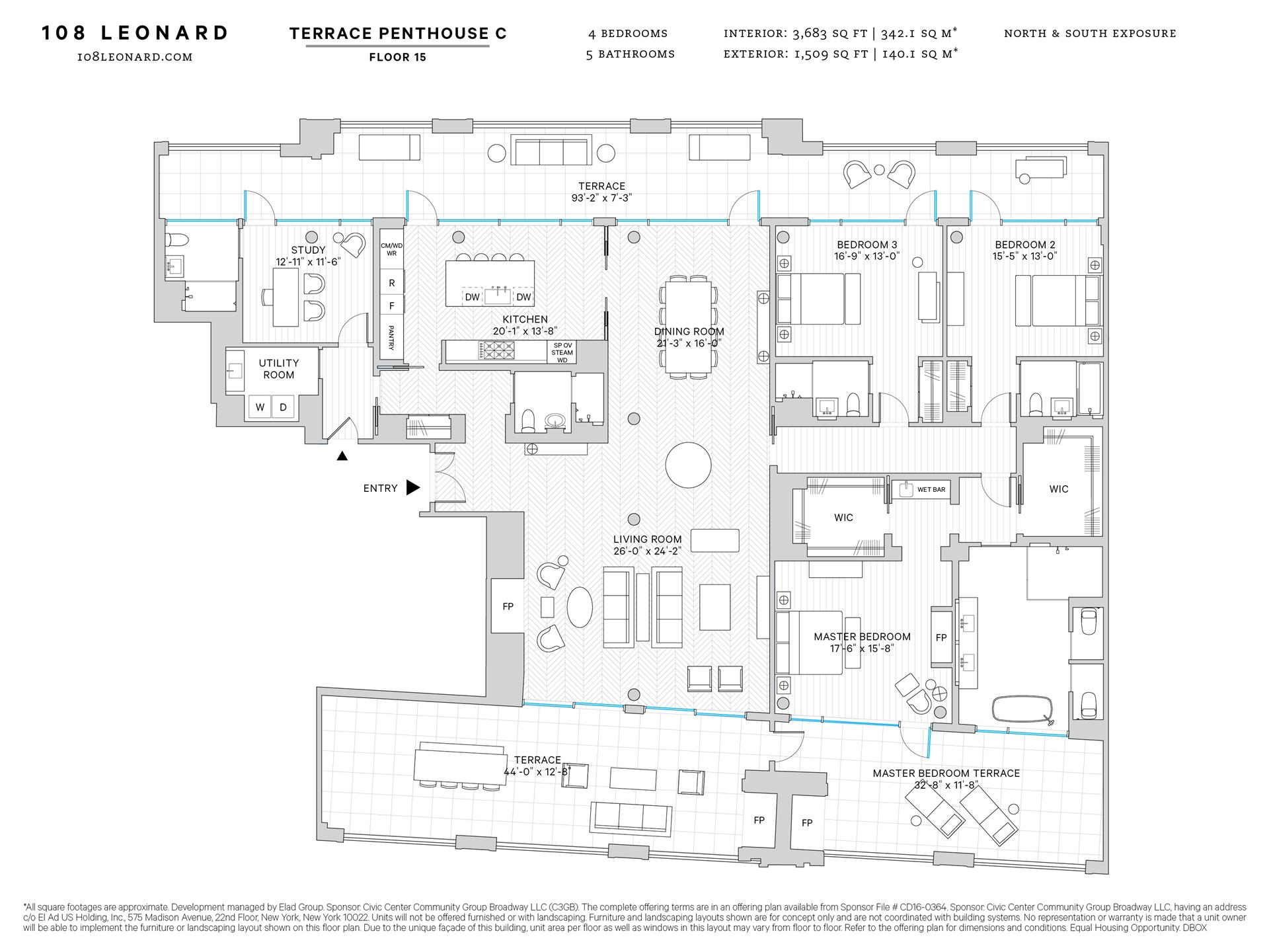 Floor plan of 108 Leonard Street, 15C - TriBeCa, New York