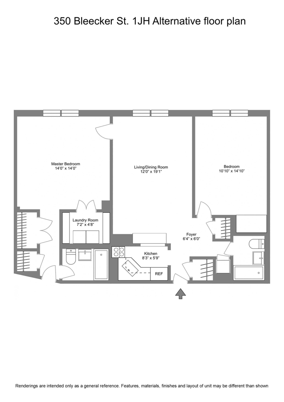 Floor plan of 350 Bleecker St, 1HJ - West Village - Meatpacking District, New York