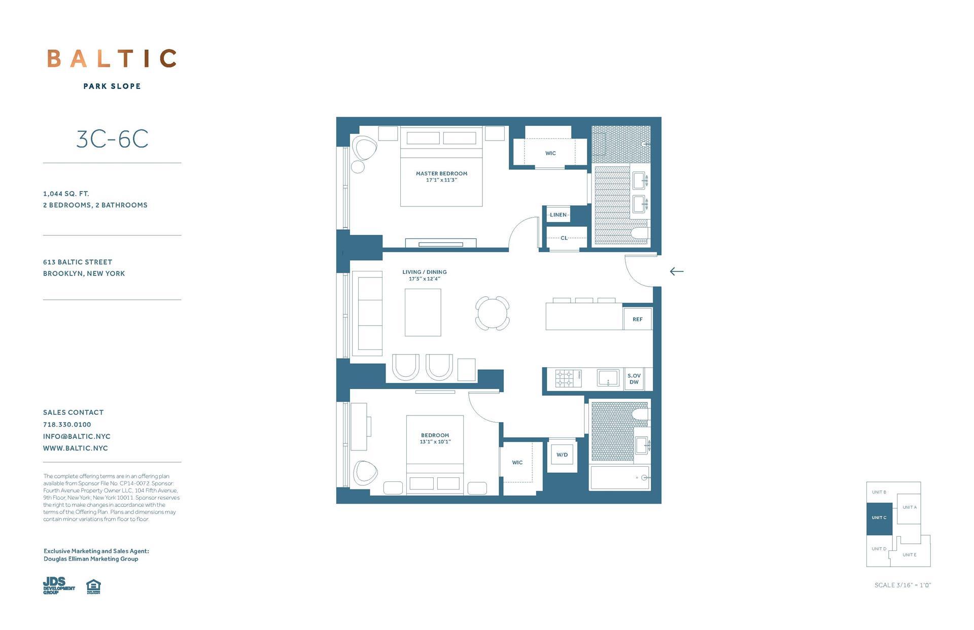Floor plan of 613 Baltic St, 6C - Park Slope, New York