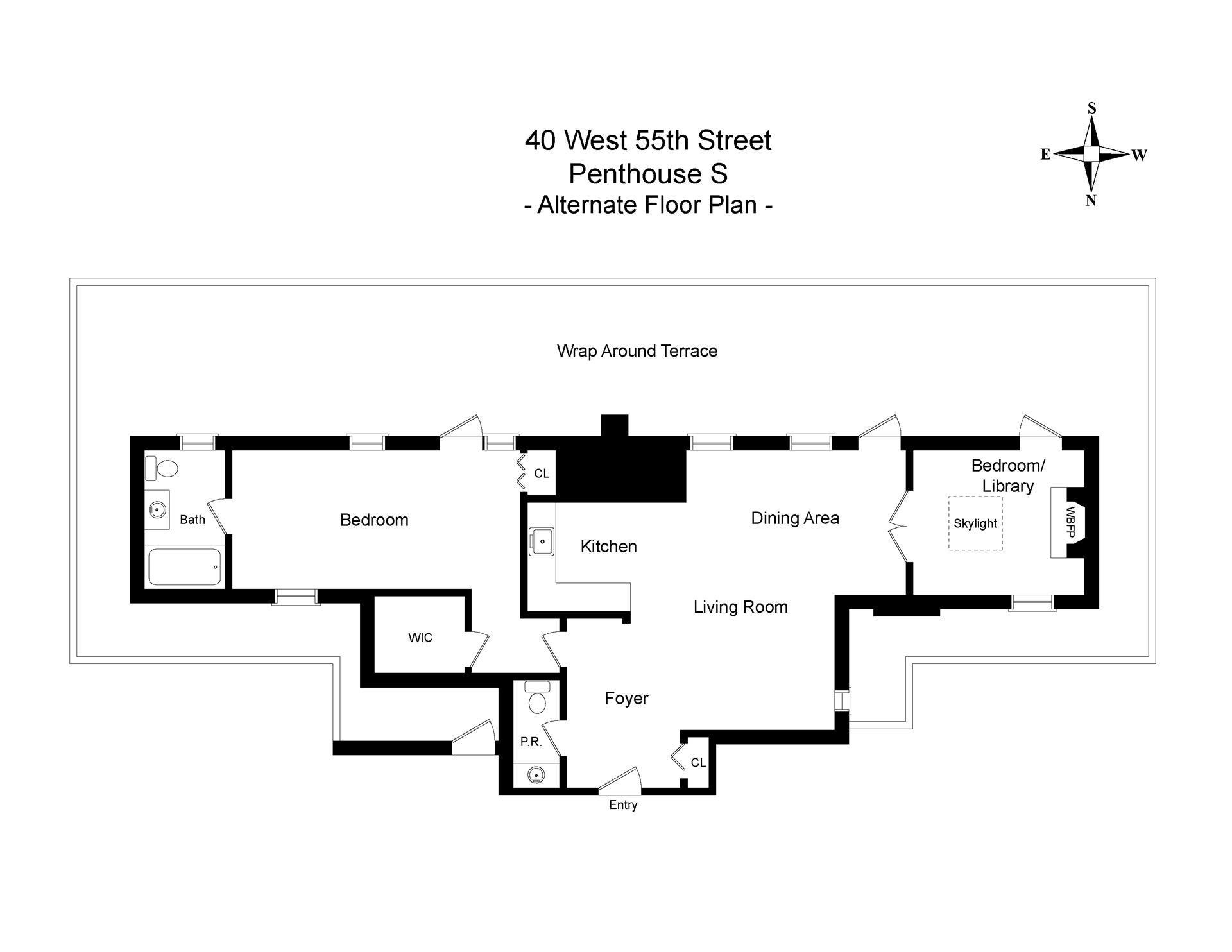 Floor plan of 40 West 55th Street, PHS - Midtown, New York