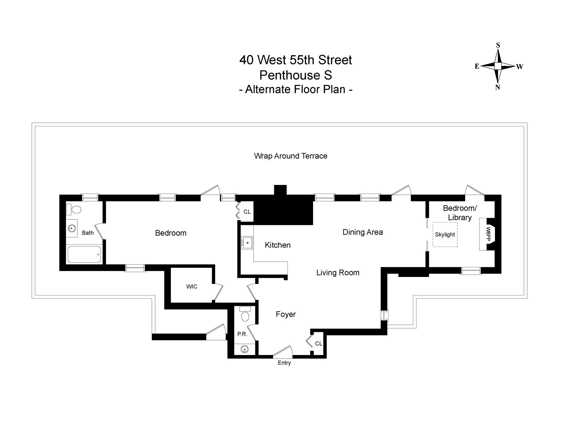 Floor plan of 40 West 55th St, PHS - Midtown, New York