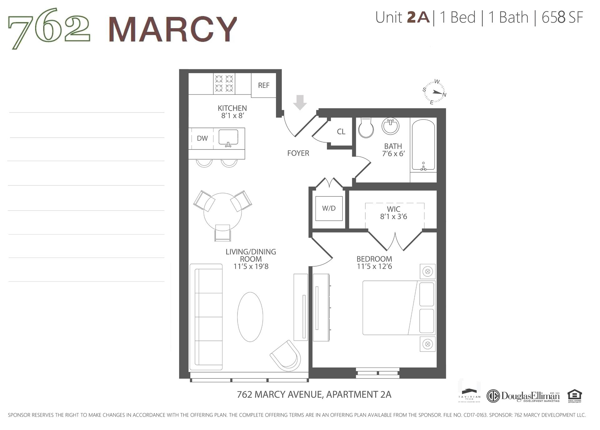 Floor plan of 762 Marcy Avenue, 2A - Bedford - Stuyvesant, New York