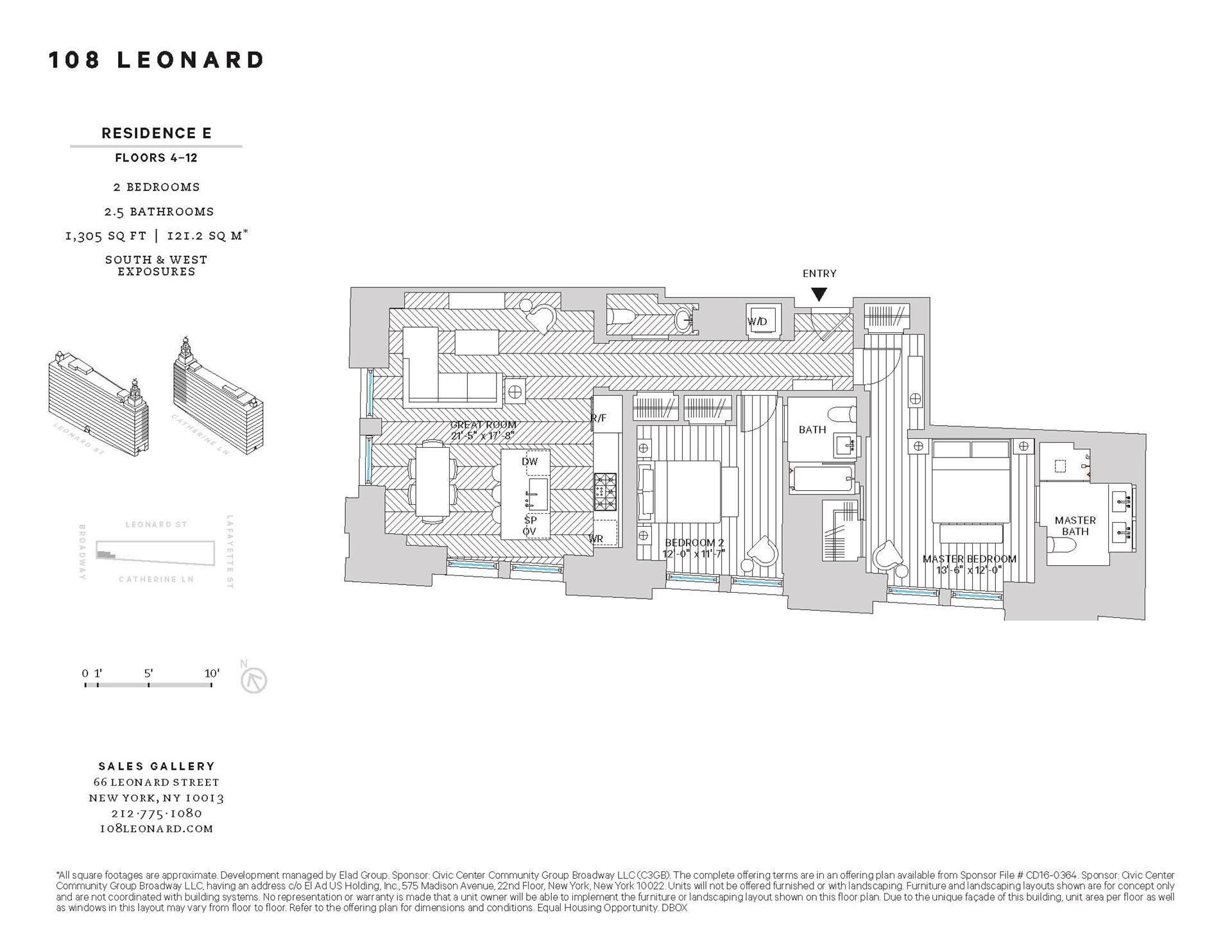 Floor plan of 108 Leonard St, 10E - TriBeCa, New York