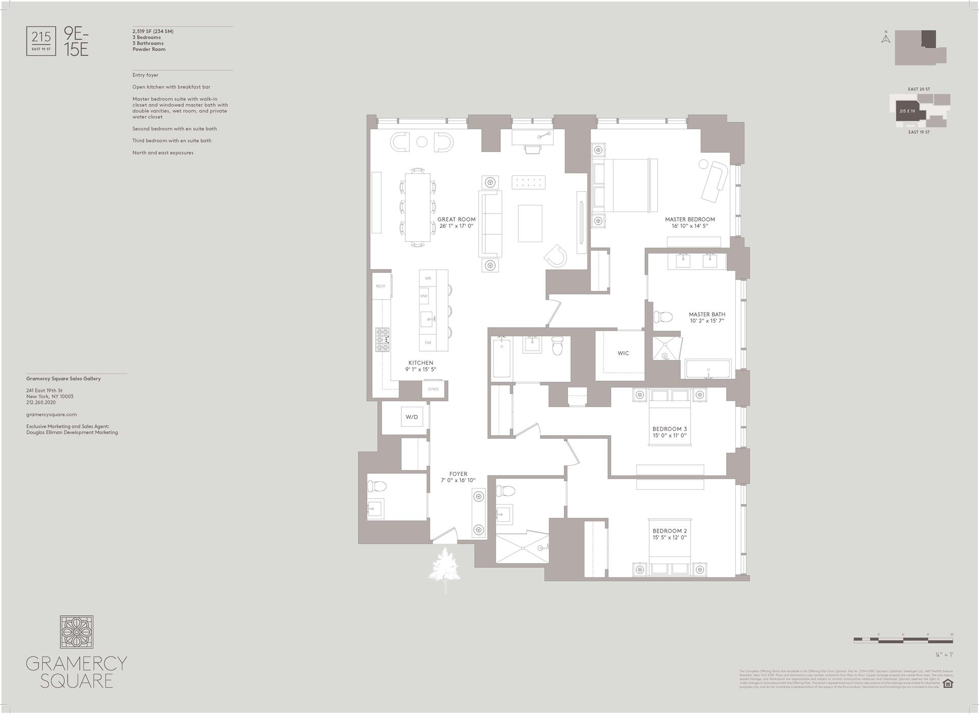 Floor plan of Gramercy Square, 215 East 19th St, 11E - Gramercy - Union Square, New York
