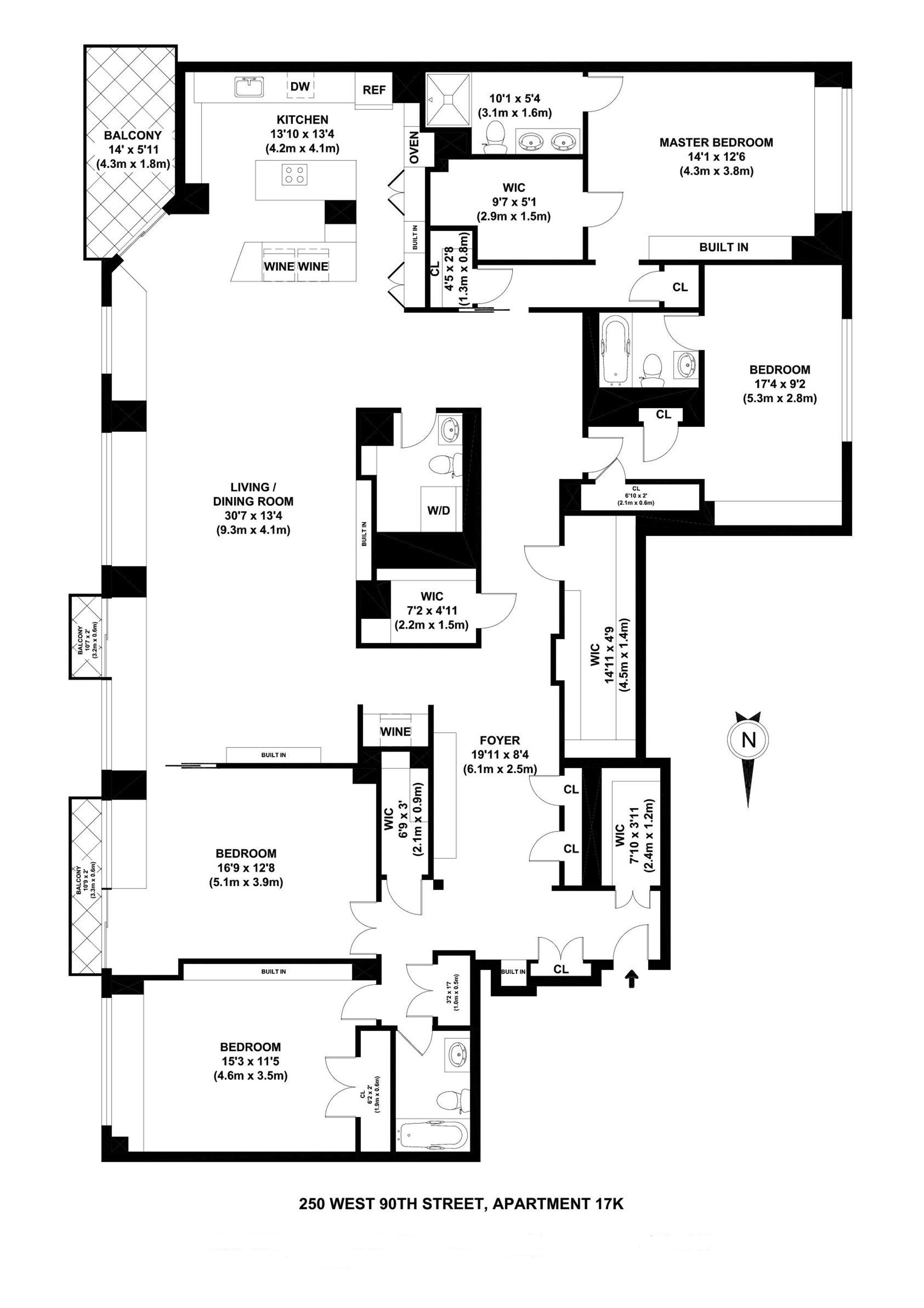 Floor plan of NEW WEST CONDO, 250 West 90th St, 17JKI - Upper West Side, New York