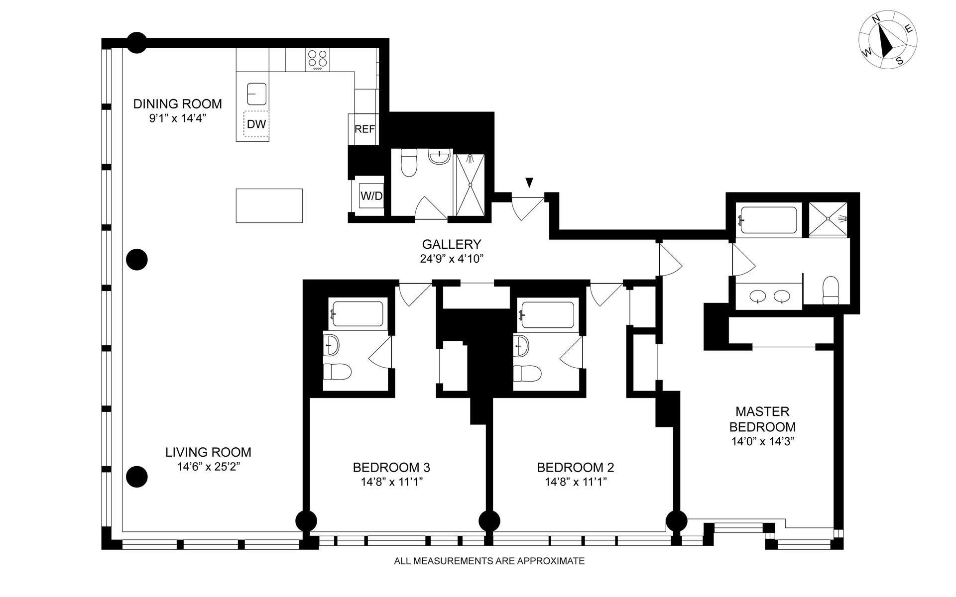 Floor plan of The Riverhouse, 2 River Terrace, 30D - Battery Park City, New York