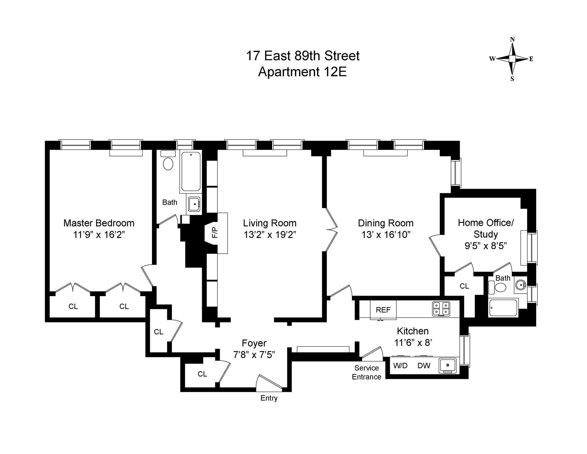 Floor plan of 17 East 89th Street, 12E - Upper East Side, New York