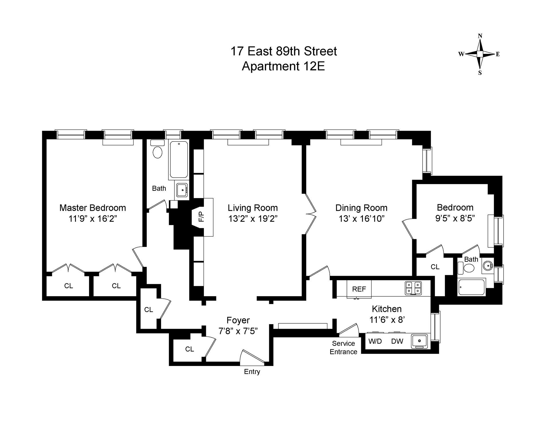 Floor plan of 17 East 89th St, 12E - Upper East Side, New York