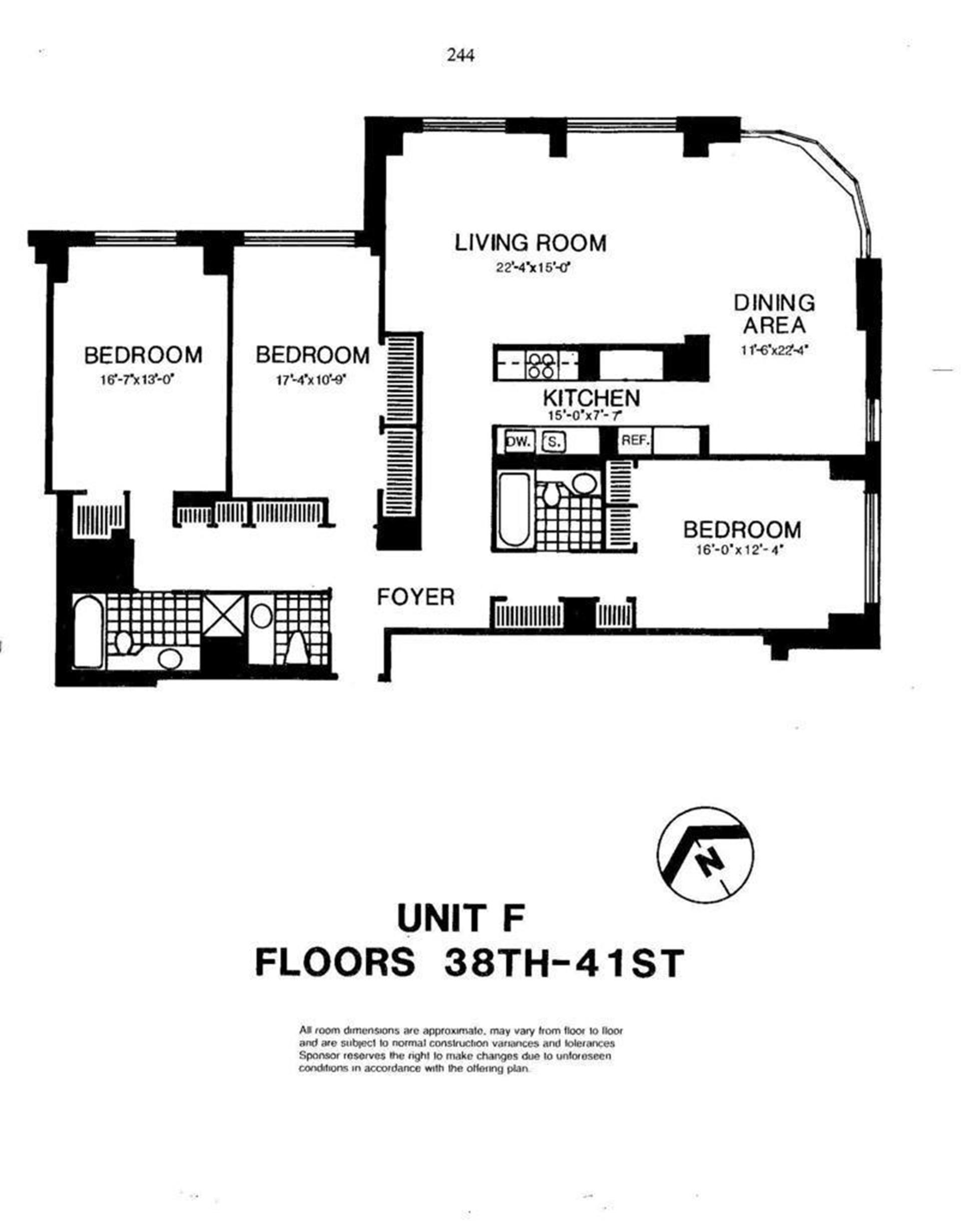 Floor plan of Liberty Residences, 200 Rector Pl, 39F - Battery Park City, New York