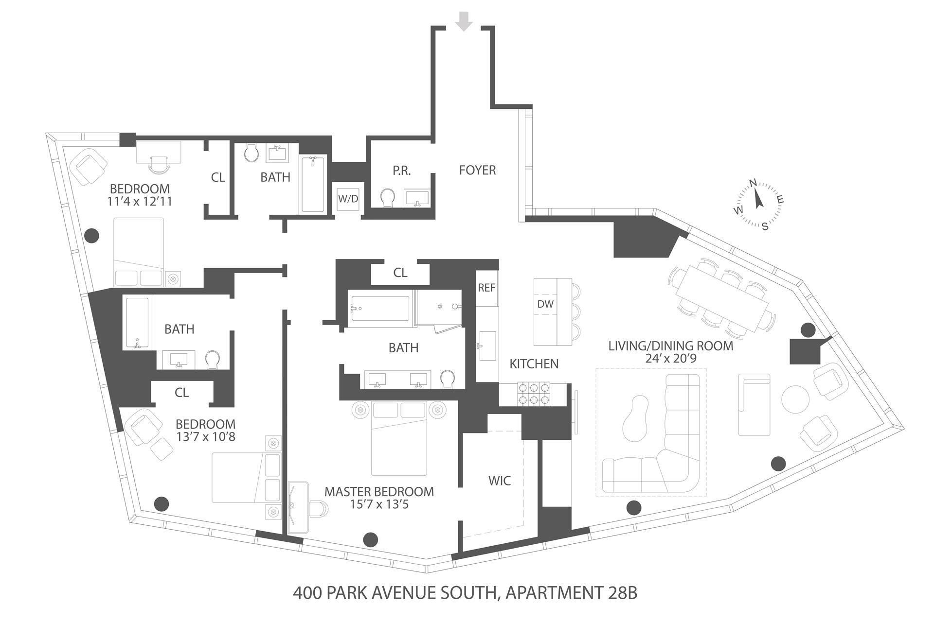 Floor plan of 400 Park Avenue South, 28B - Midtown, New York