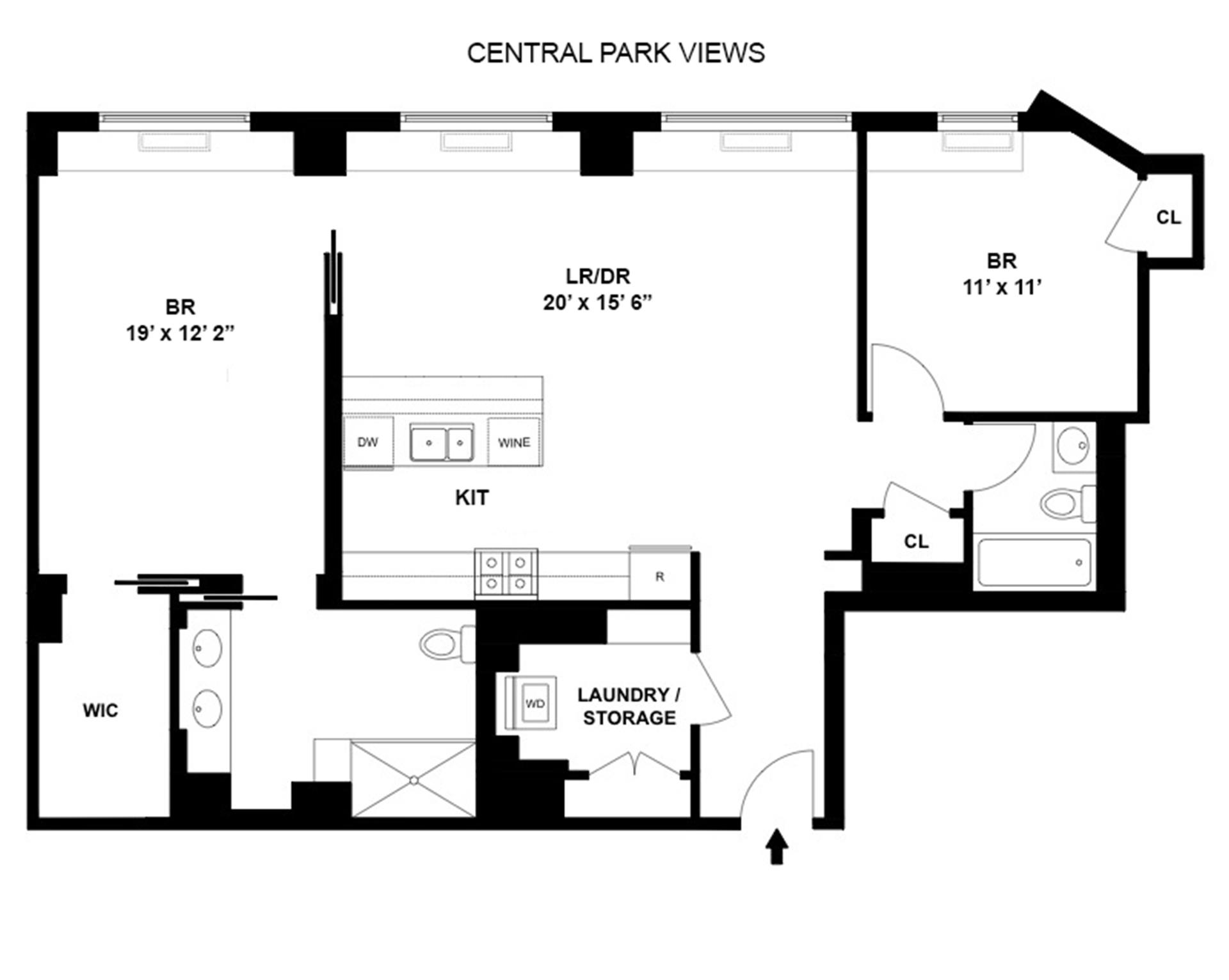Floor plan of 30 Lincoln Plaza, 30 West 63rd St, 22VW - Lincoln Square, New York
