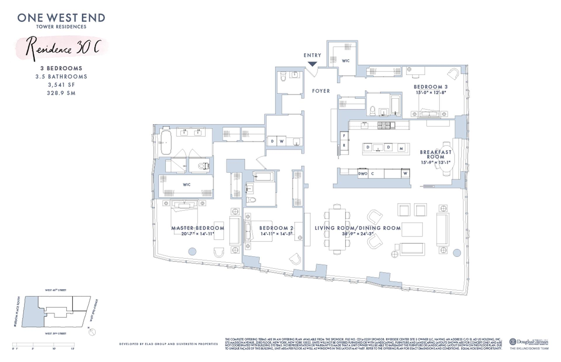 Floor plan of One West End, 1 West End Avenue, 30C - Upper West Side, New York
