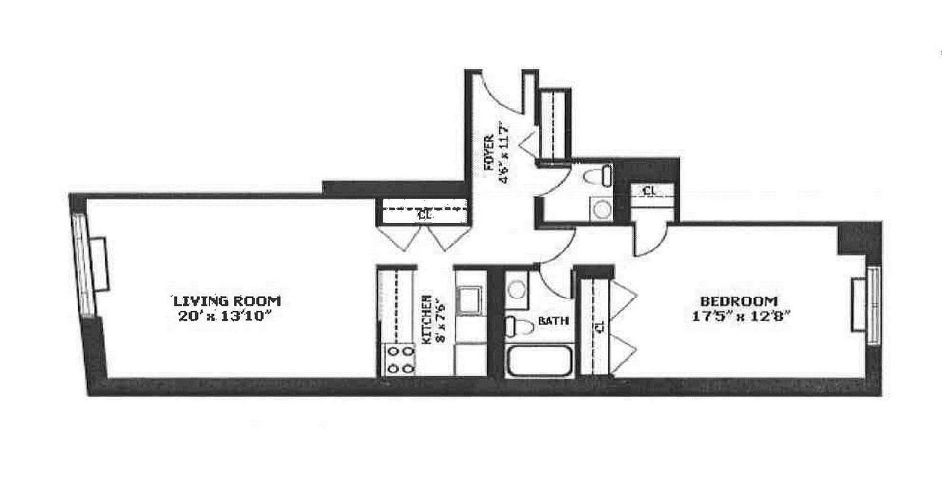 Floor plan of HUDSON TOWER, 350 Albany St, 5A - Battery Park City, New York