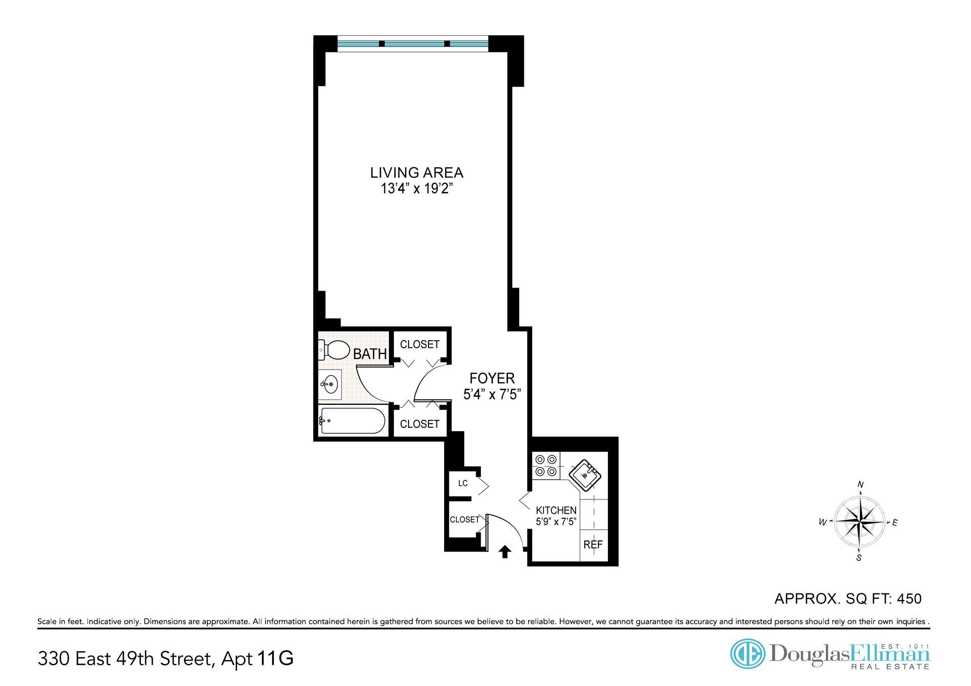 Floor plan of 330 East 49th St, 11G - Turtle Bay, New York