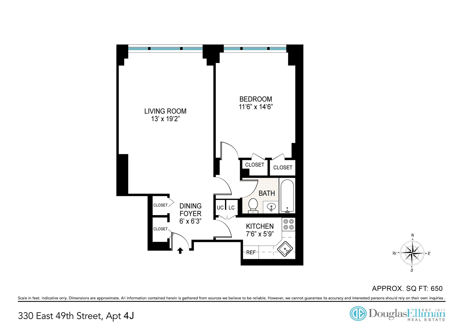 Floor plan of 330 East 49th St, 4J - Turtle Bay, New York