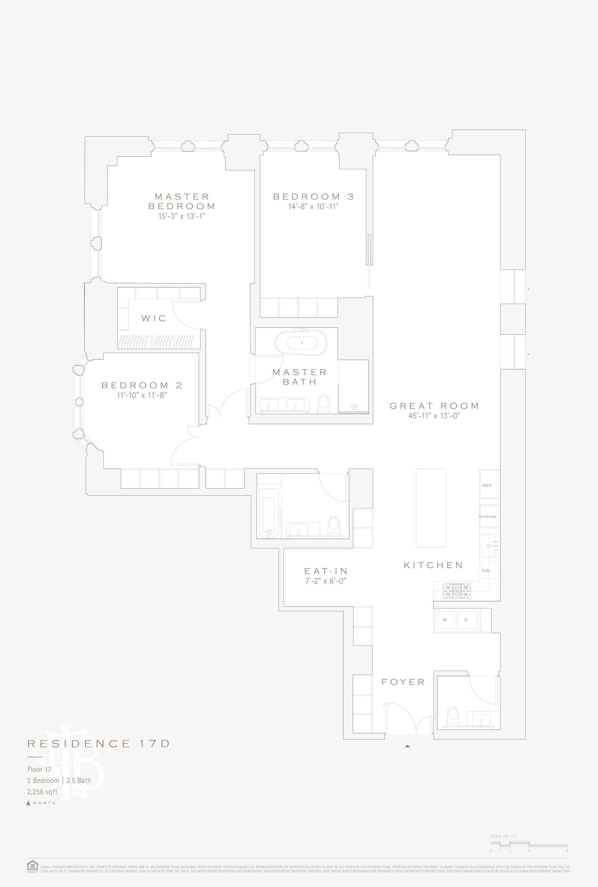 Floor plan of 49 Chambers St, 17D - TriBeCa, New York