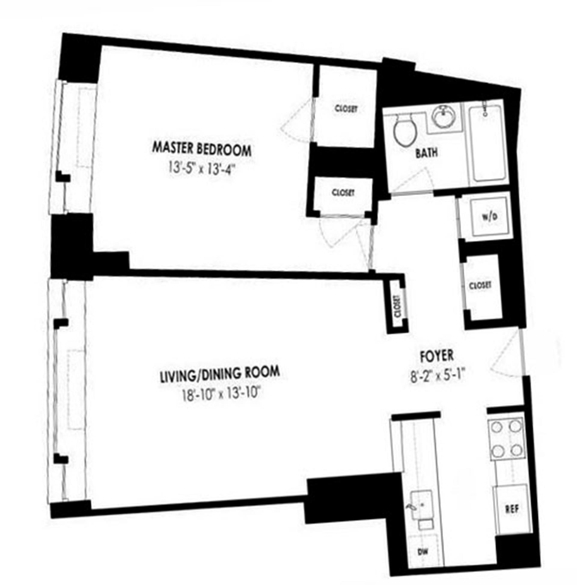 Floor plan of The Heritage, 240 Riverside Boulevard, 4F - Upper West Side, New York