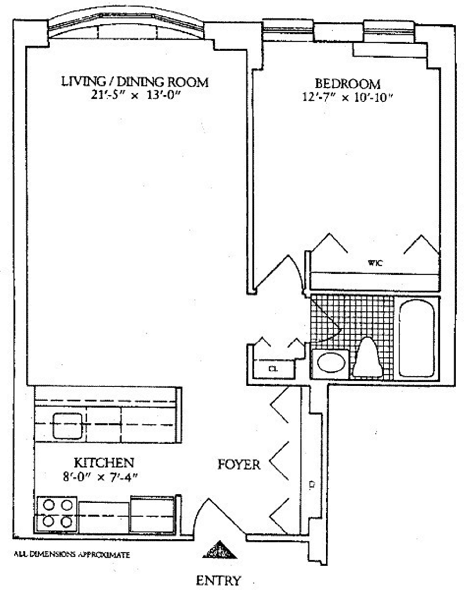 Floor plan of THE BROADWAY CONDO, 2250 Broadway, 6J - Upper West Side, New York
