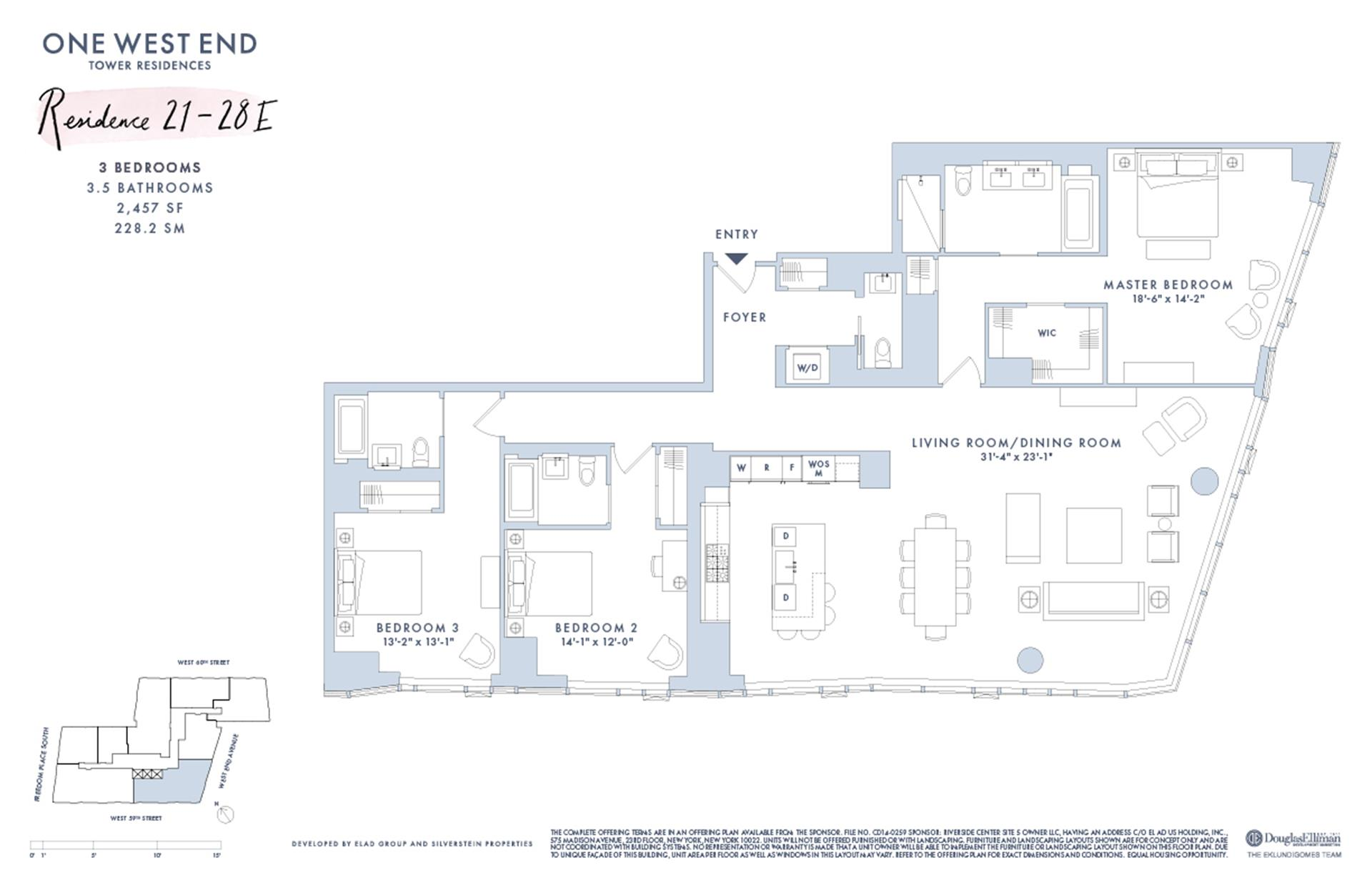 Floor plan of One West End, 1 West End Avenue, 27E - Upper West Side, New York