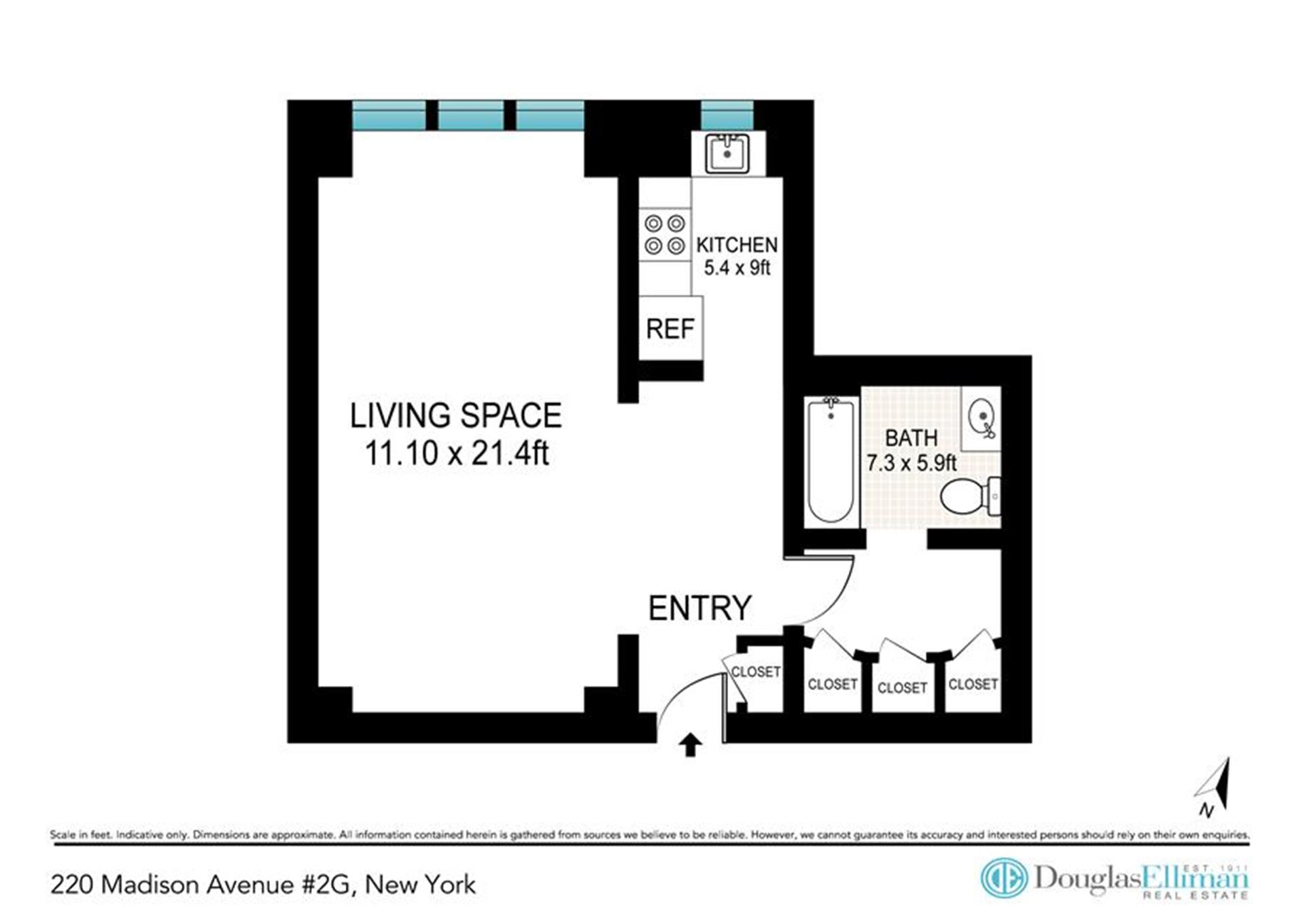 Floor plan of 220 Madison Avenue, 2G - Murray Hill, New York