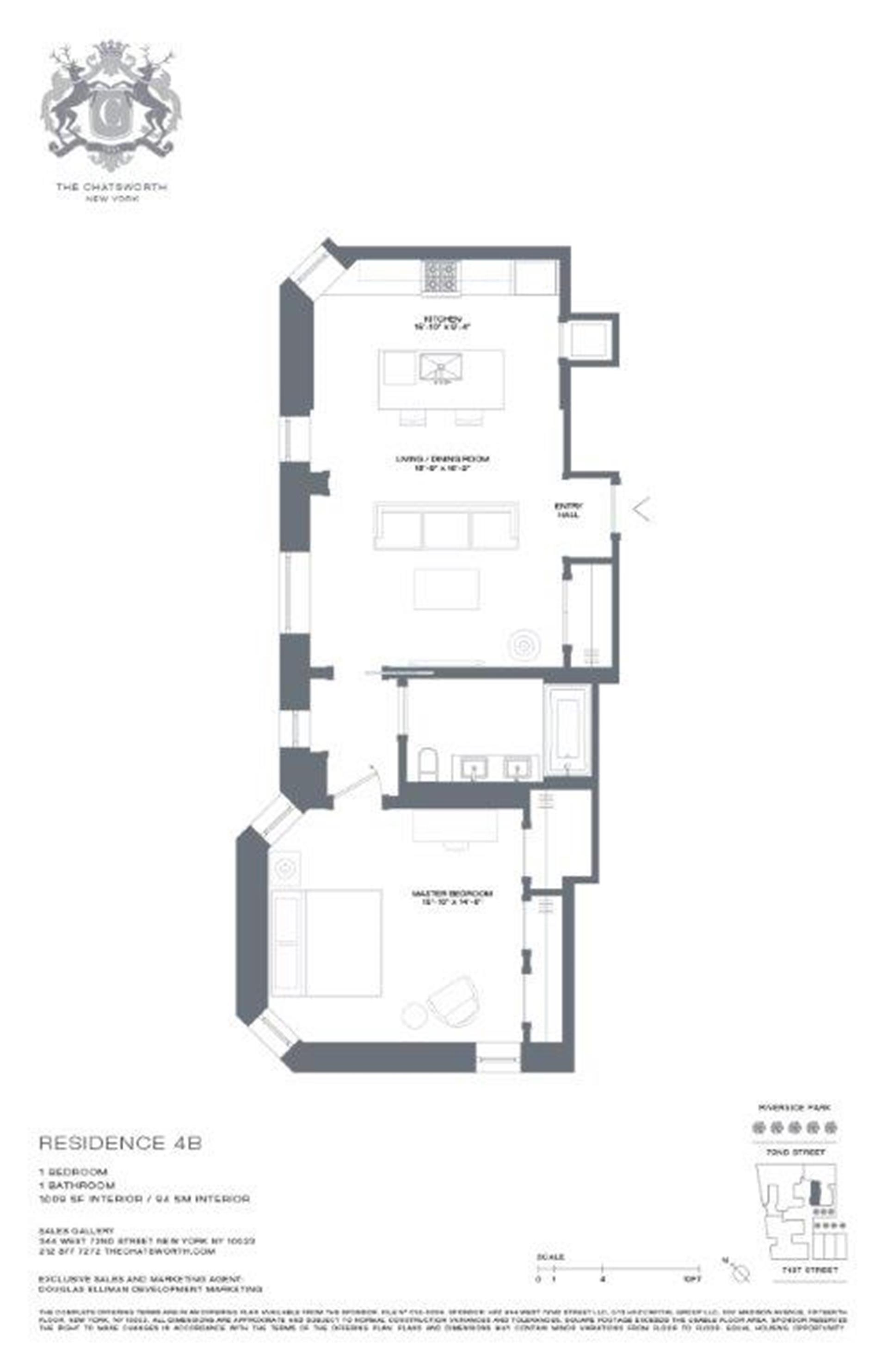Floor plan of The Chatsworth, 344 West 72nd St, 4B - Upper West Side, New York