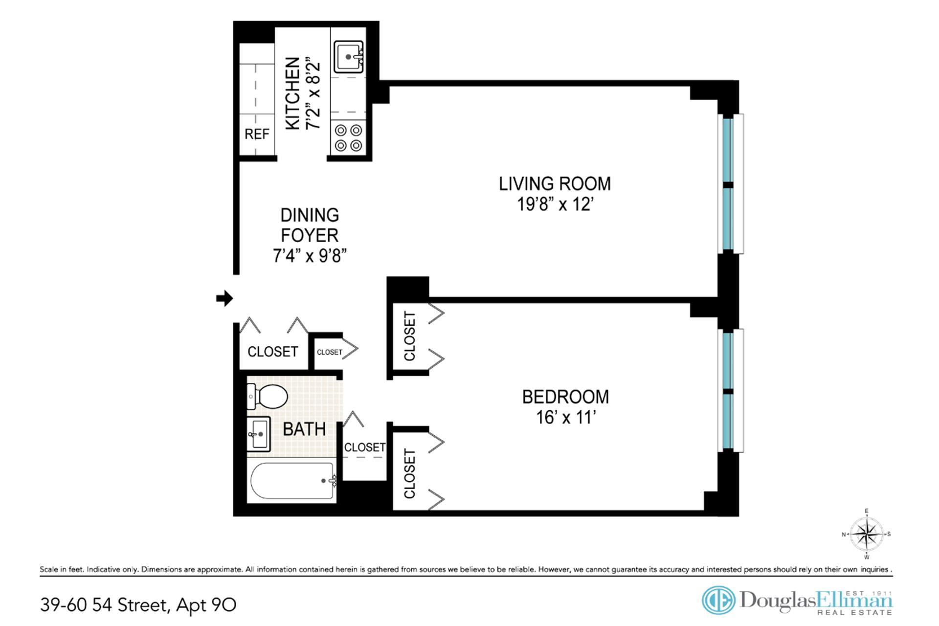 Floor plan of 39-60 54th St, 9O - Woodside, New York