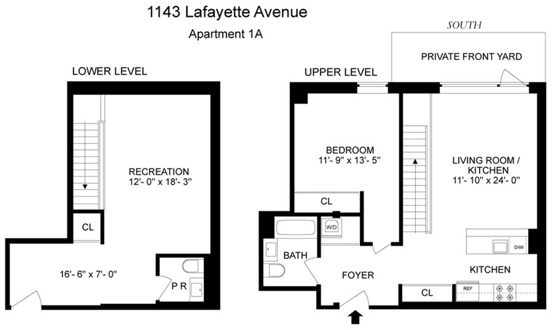 Floor plan of 1143 Lafayette Avenue, 1F - Bushwick, New York