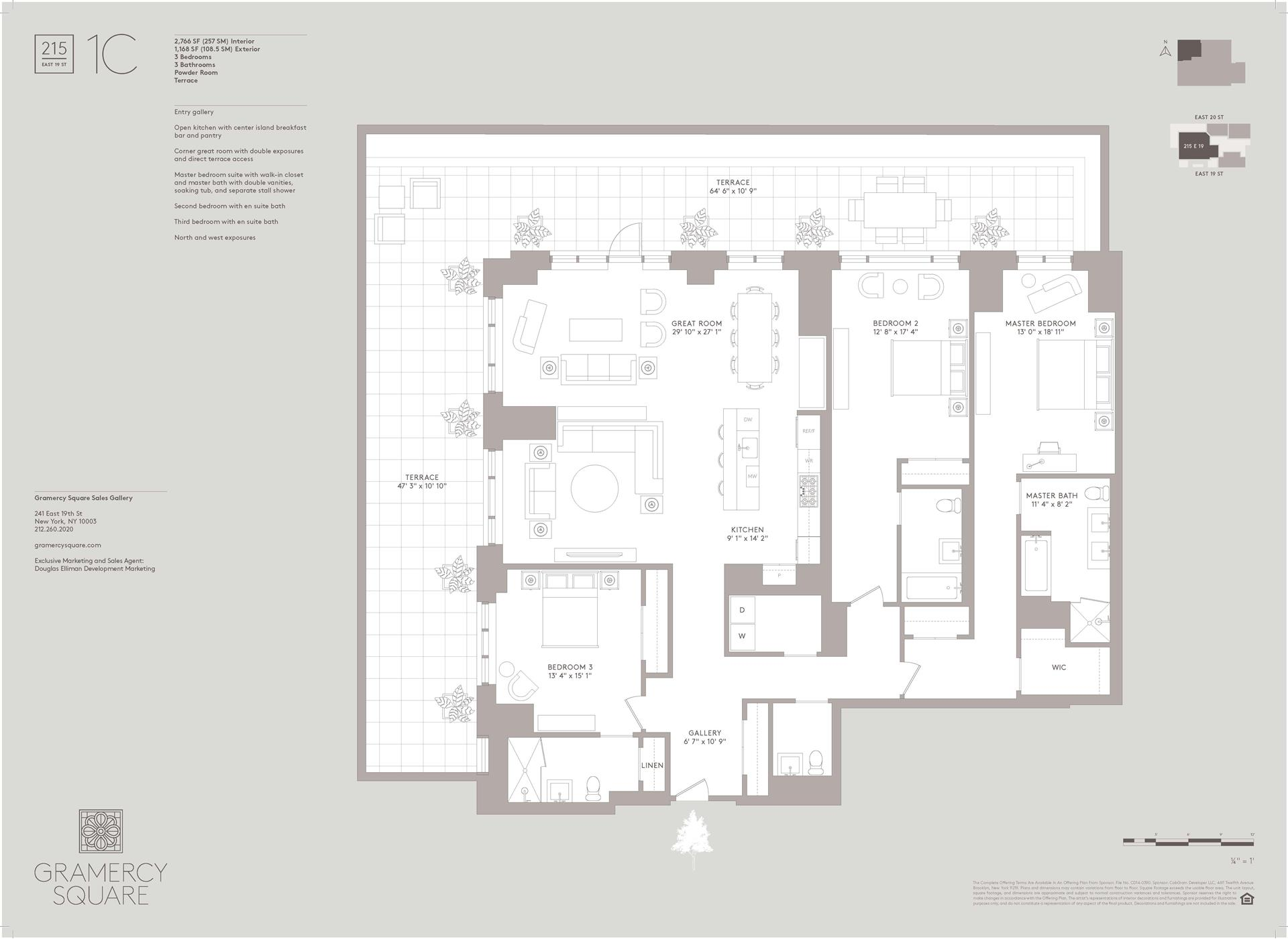 Floor plan of Gramercy Square, 215 East 19th St, 1C - Gramercy - Union Square, New York