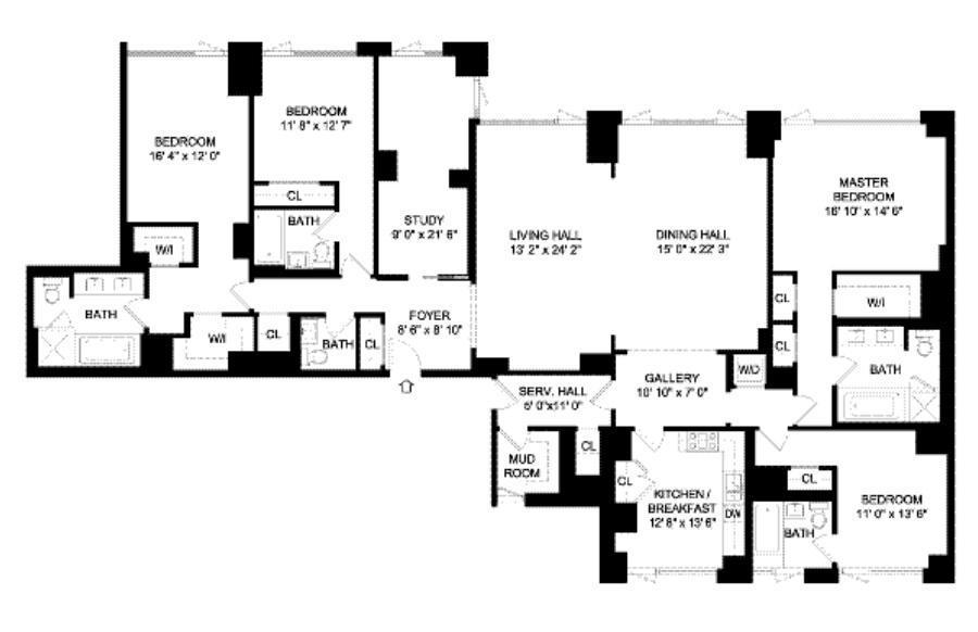Floor plan of 170 East End Avenue, 7AB - Upper East Side, New York