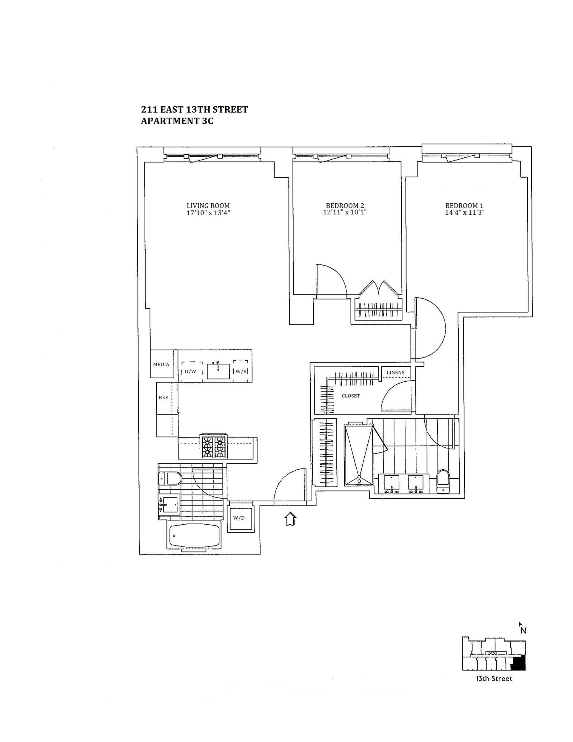 Floor plan of The Jefferson, 211 East 13th St, 3C - East Village, New York