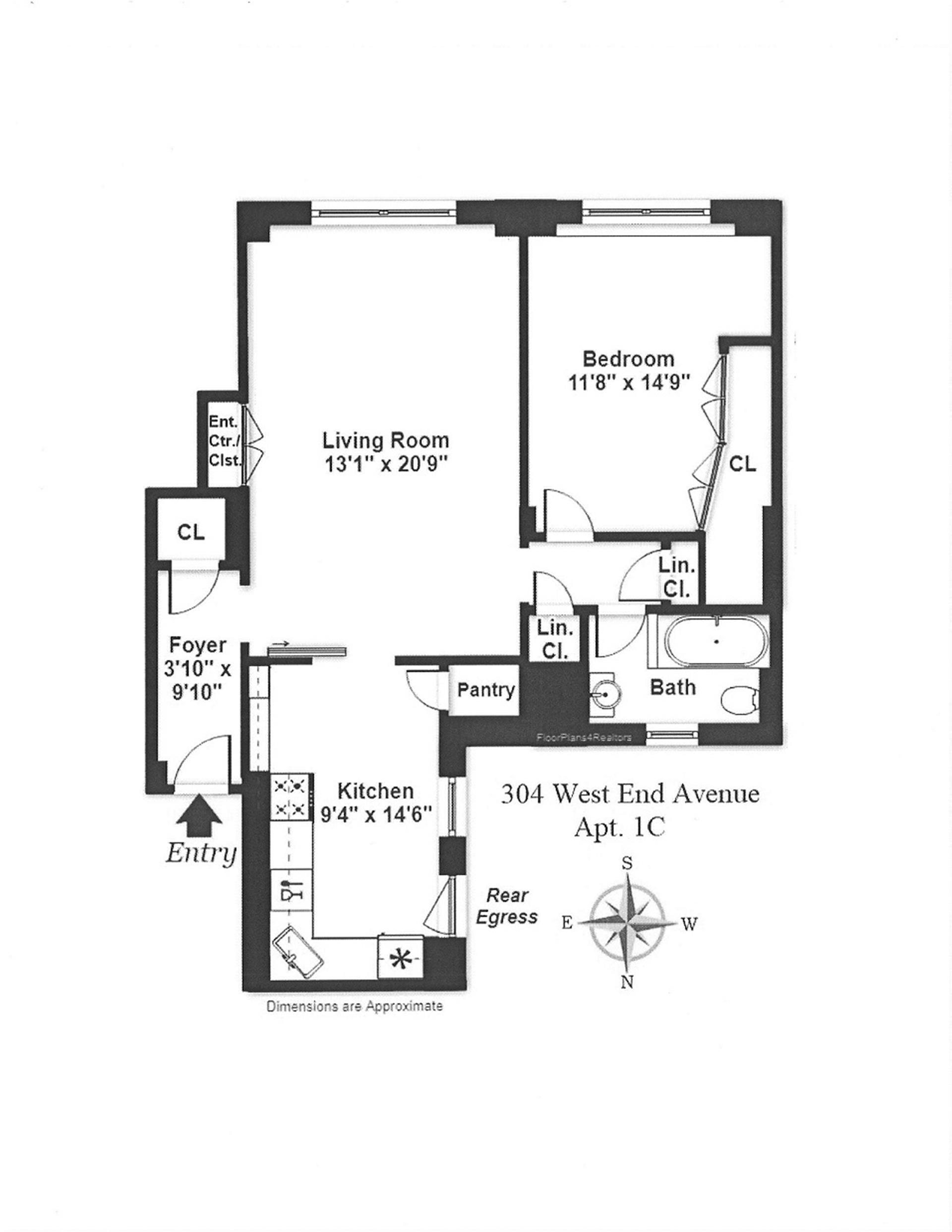 Floor plan of 304 West 89th St, 1C - Upper West Side, New York