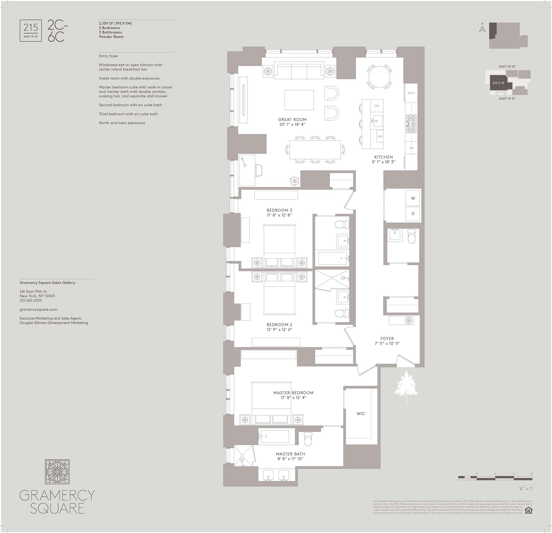 Floor plan of Gramercy Square, 215 East 19th St, 2C - Gramercy - Union Square, New York