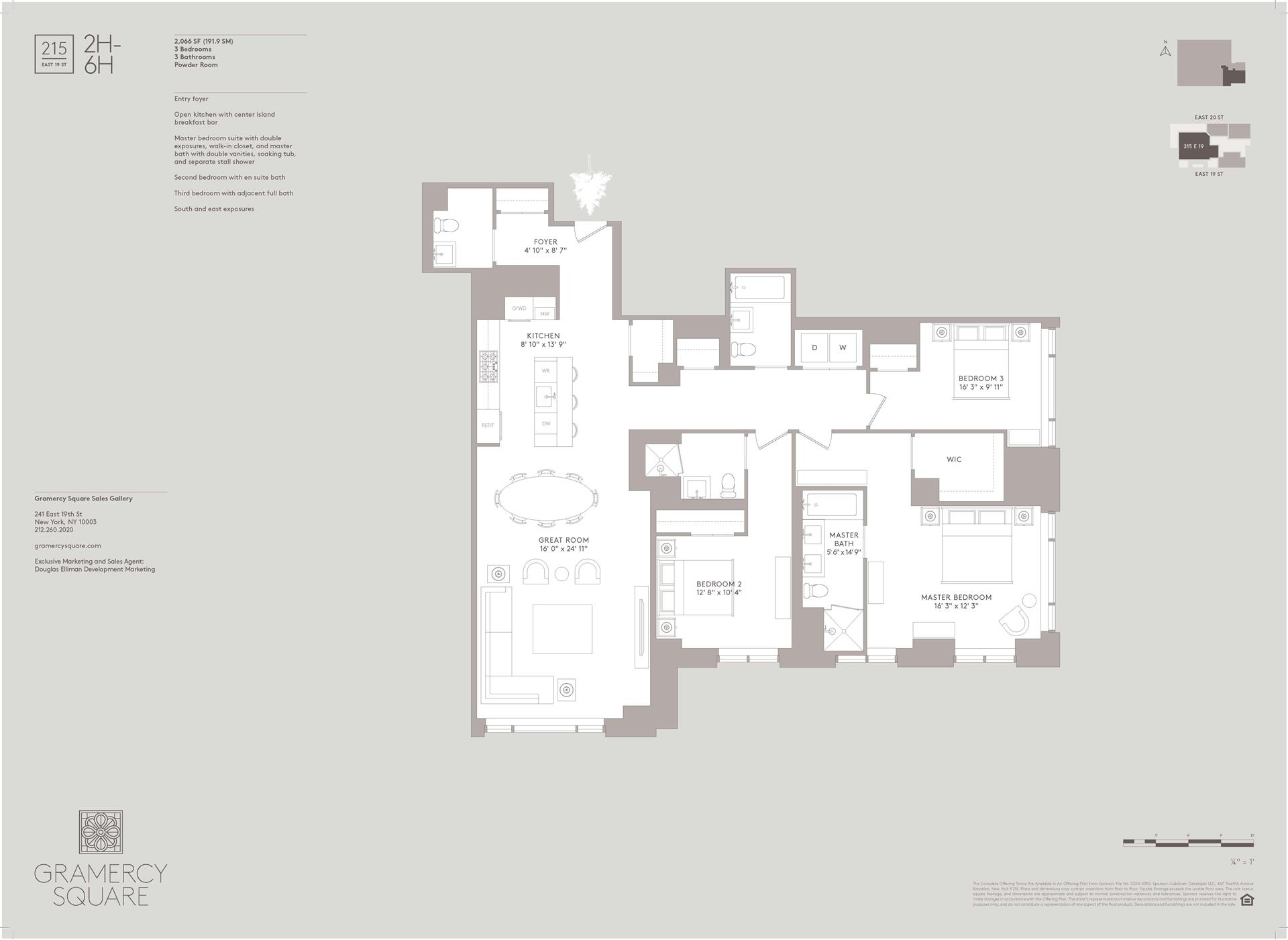 Floor plan of Gramercy Square, 215 East 19th St, 4H - Gramercy - Union Square, New York