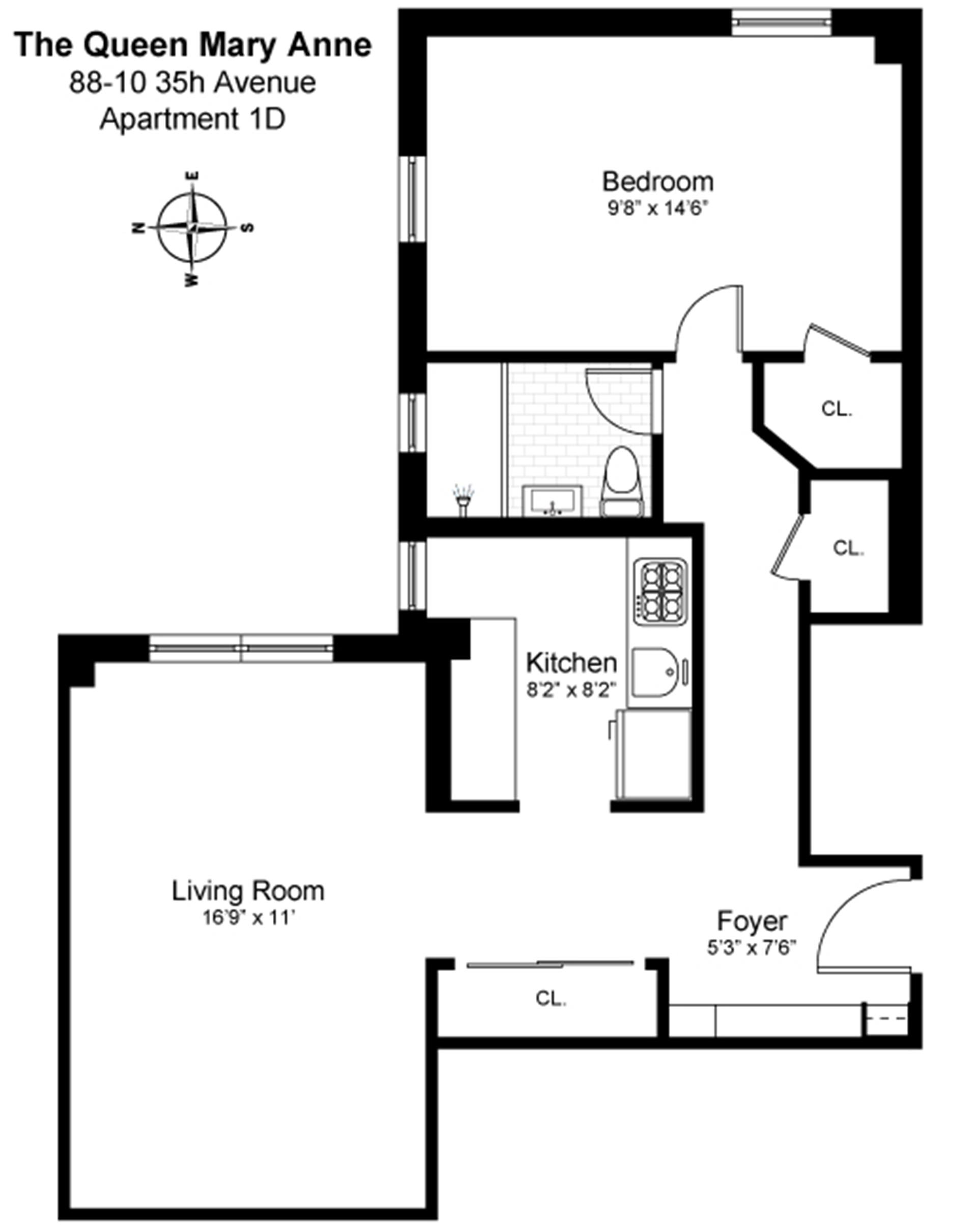 Floor plan of 88-10 35th Avenue, 1D - Jackson Heights, New York