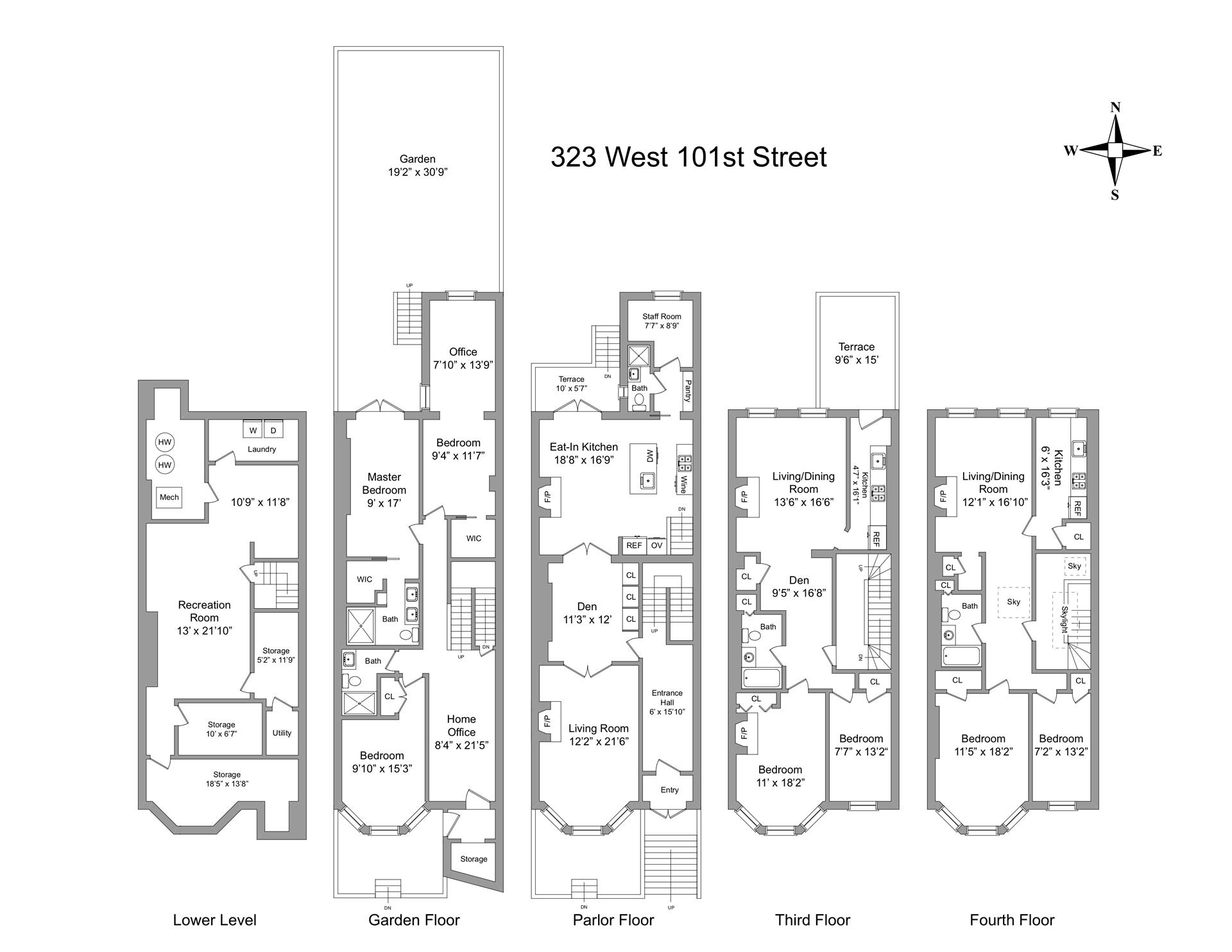 Floor plan of 323 West 101st St - Upper West Side, New York