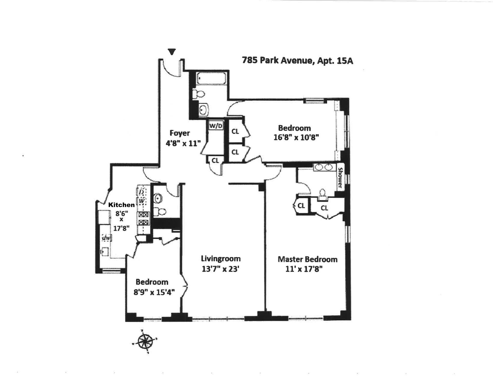 Floor plan of 785 Park Avenue, 15A - Upper East Side, New York