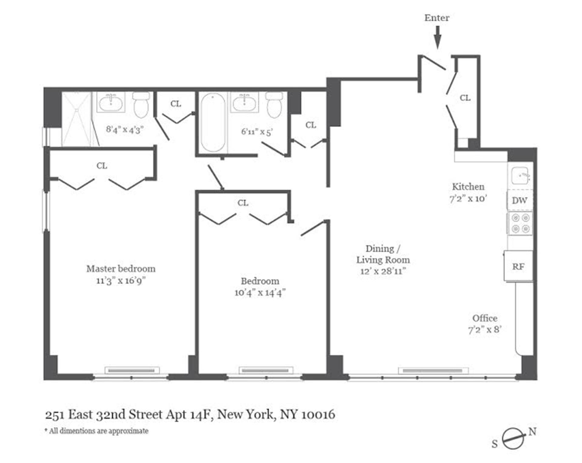 Floor plan of Riverview East, 251 East 32nd St, 14F - Kips Bay, New York