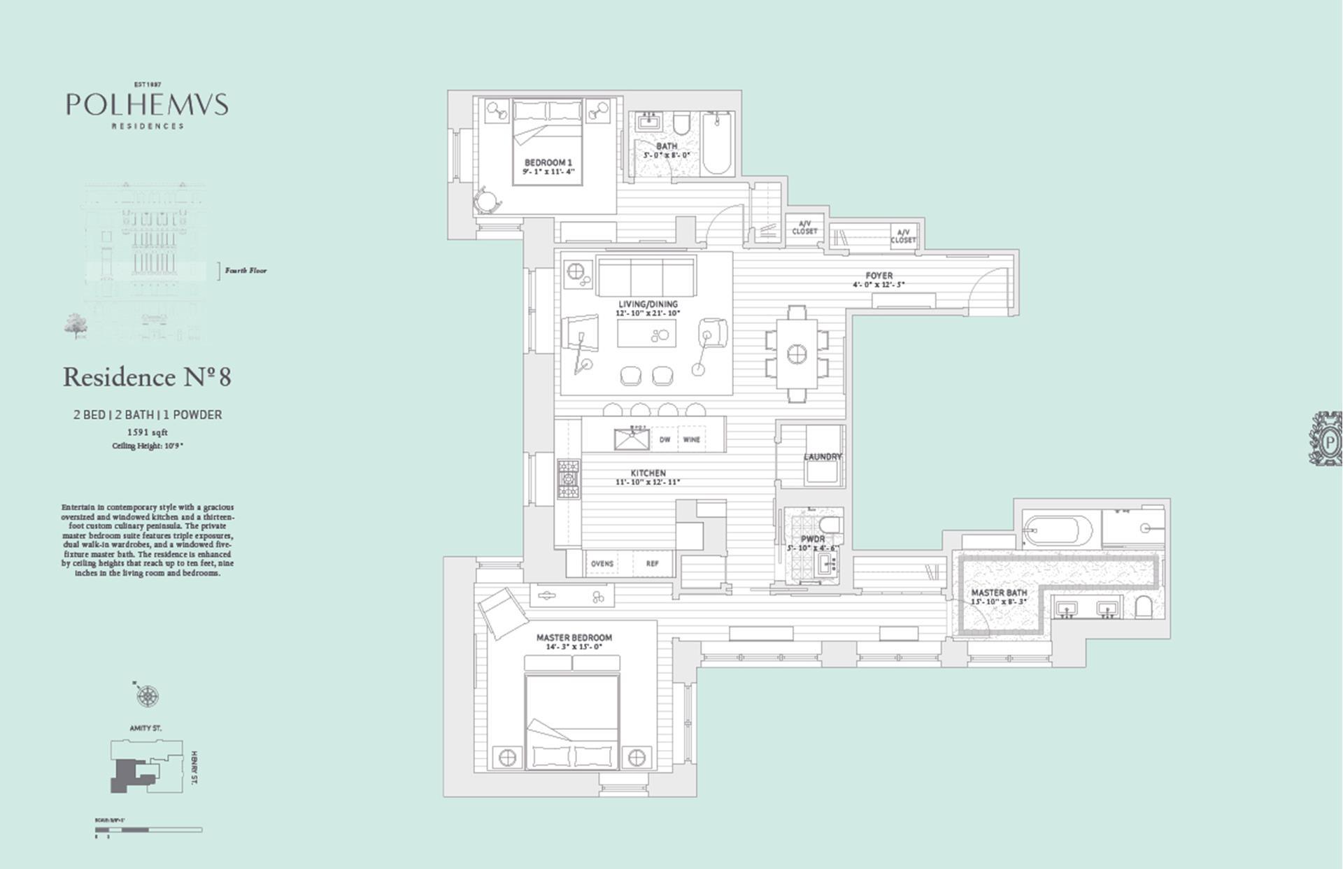 Floor plan of Polhemus, 100 Amity St, RESIDENCE8 - Cobble Hill, New York